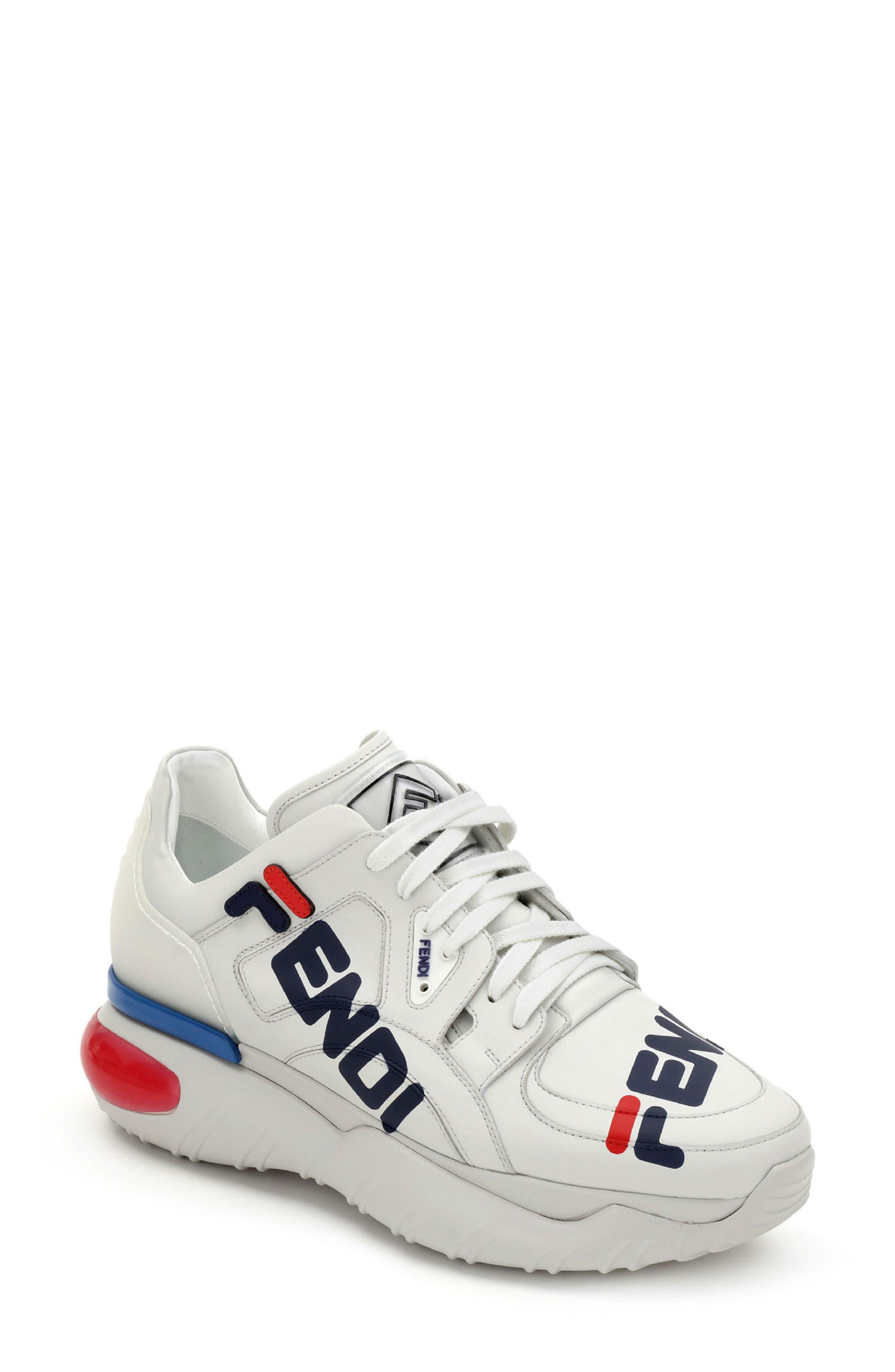x FILA Mania Logo Sneaker,                         Main,                         color, WHITE