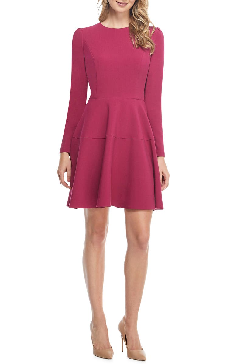 Celeste Fit & Flare Dress,                         Main,                         color, BERRY