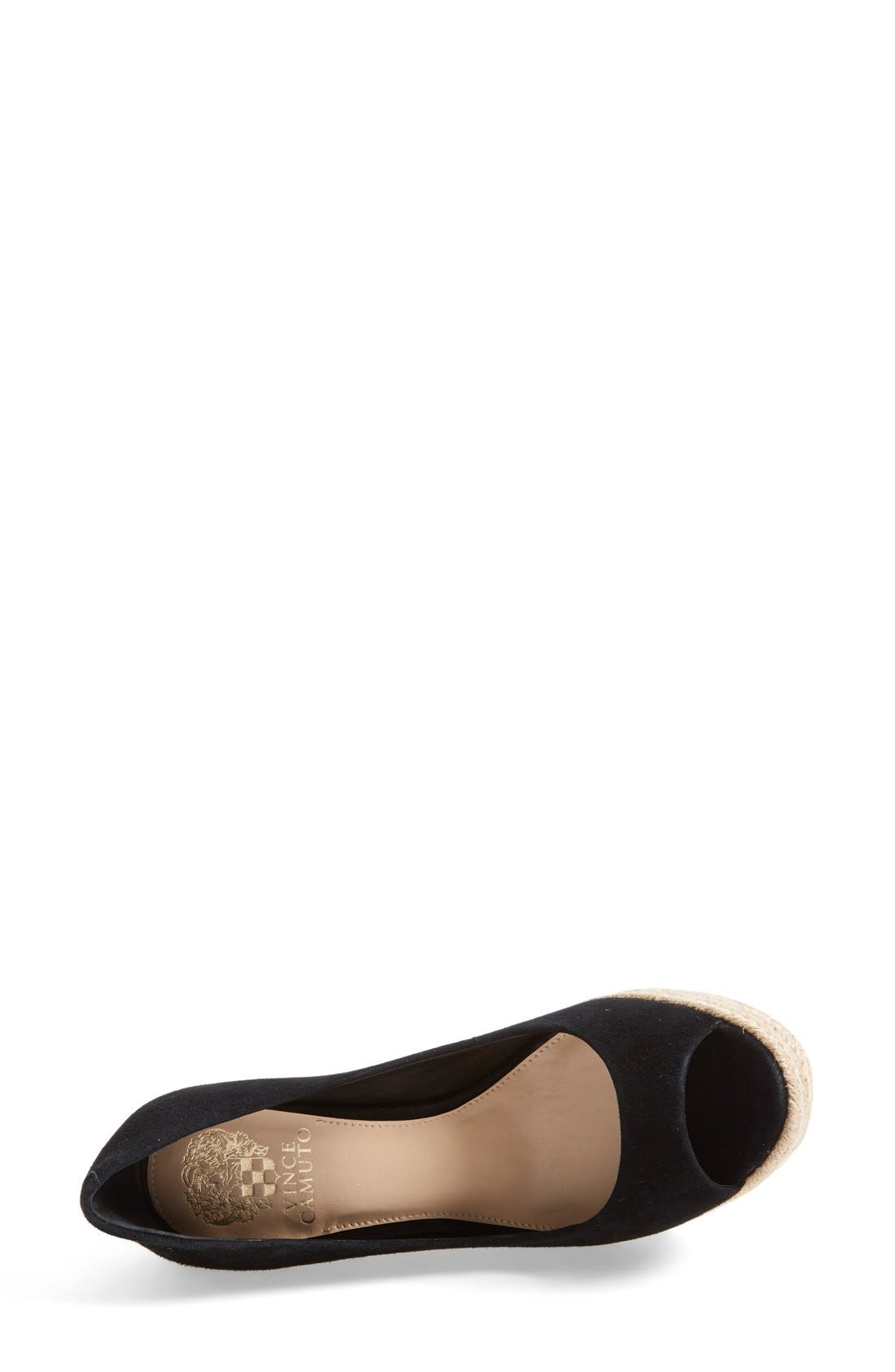 'Totsi' Peep Toe Espadrille Wedge,                             Alternate thumbnail 3, color,                             001