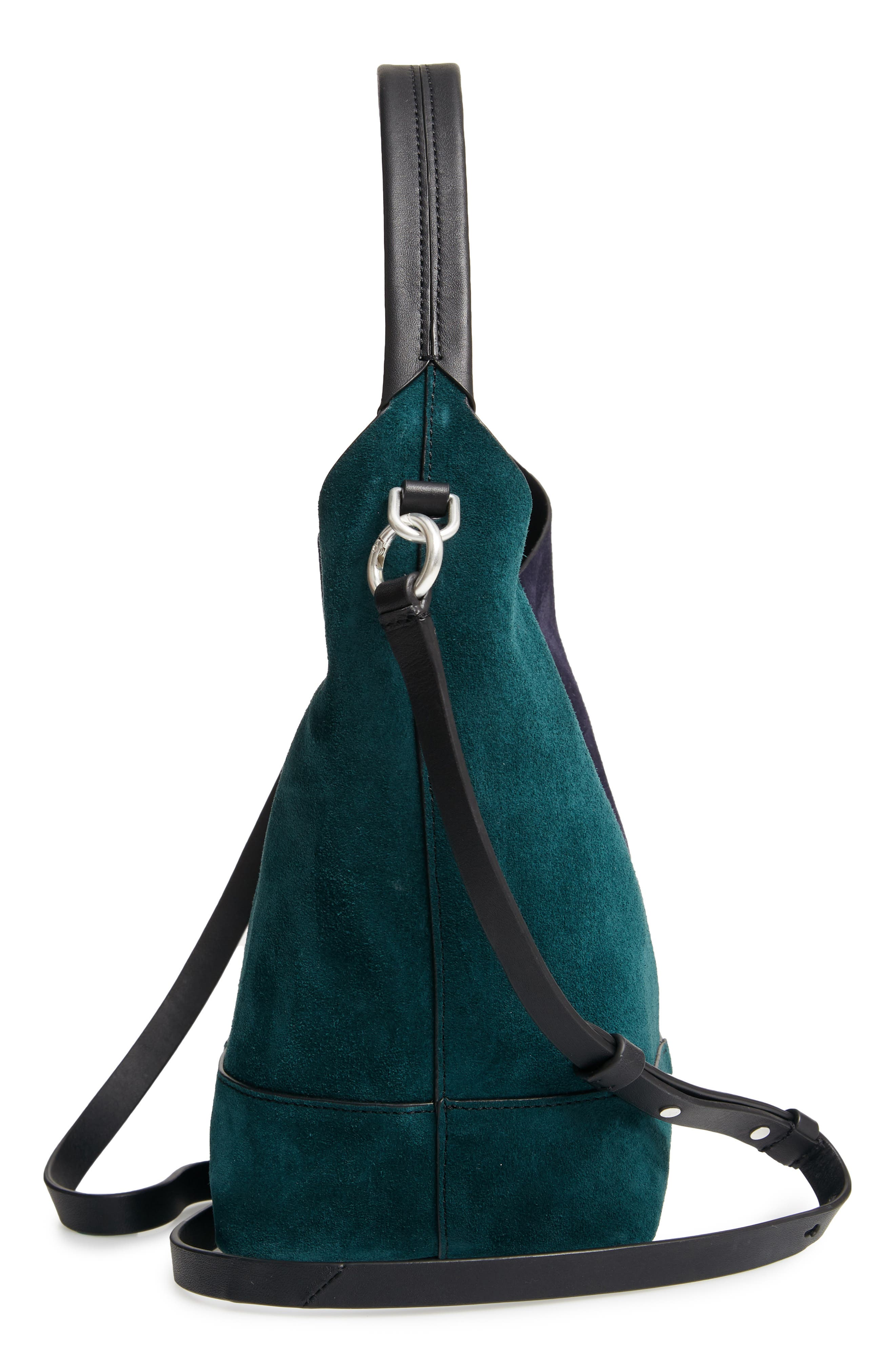 Mini Camden Suede Tote,                             Alternate thumbnail 5, color,                             FOREST