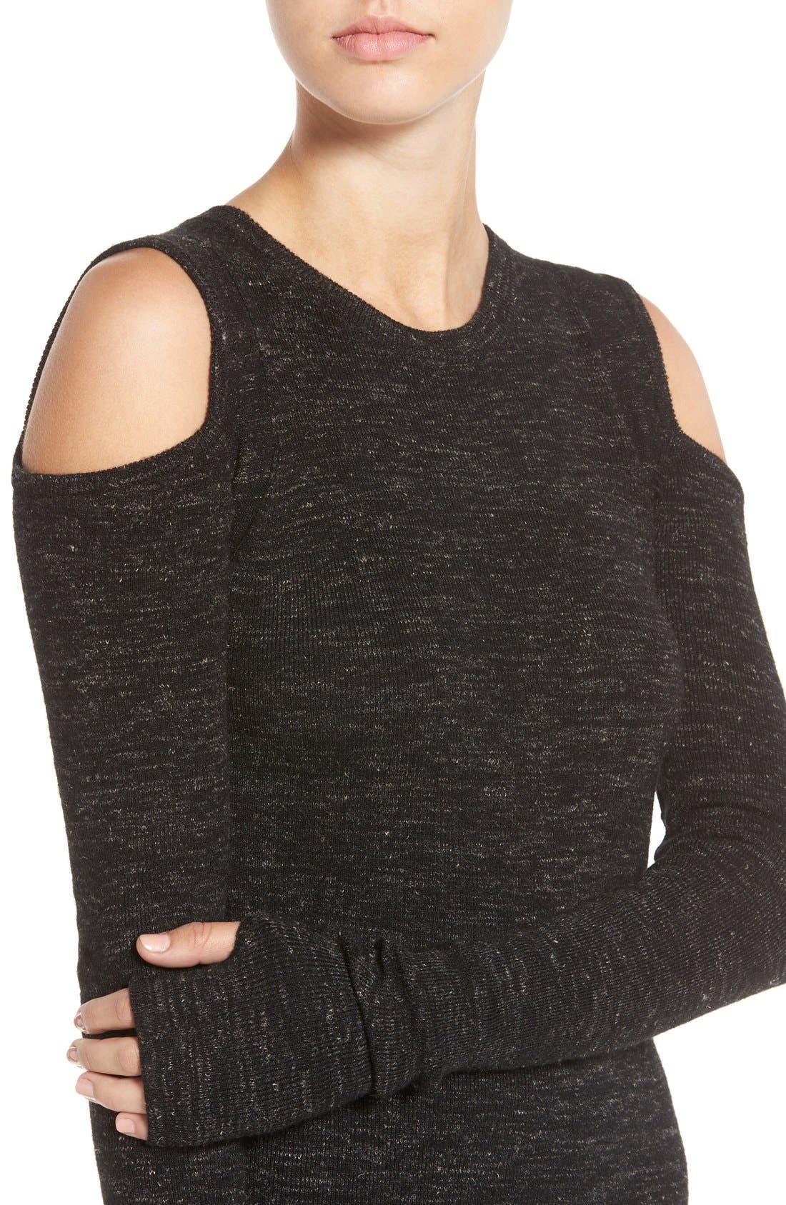 'The Mélange' Cold Shoulder Sweater,                             Alternate thumbnail 5, color,                             001