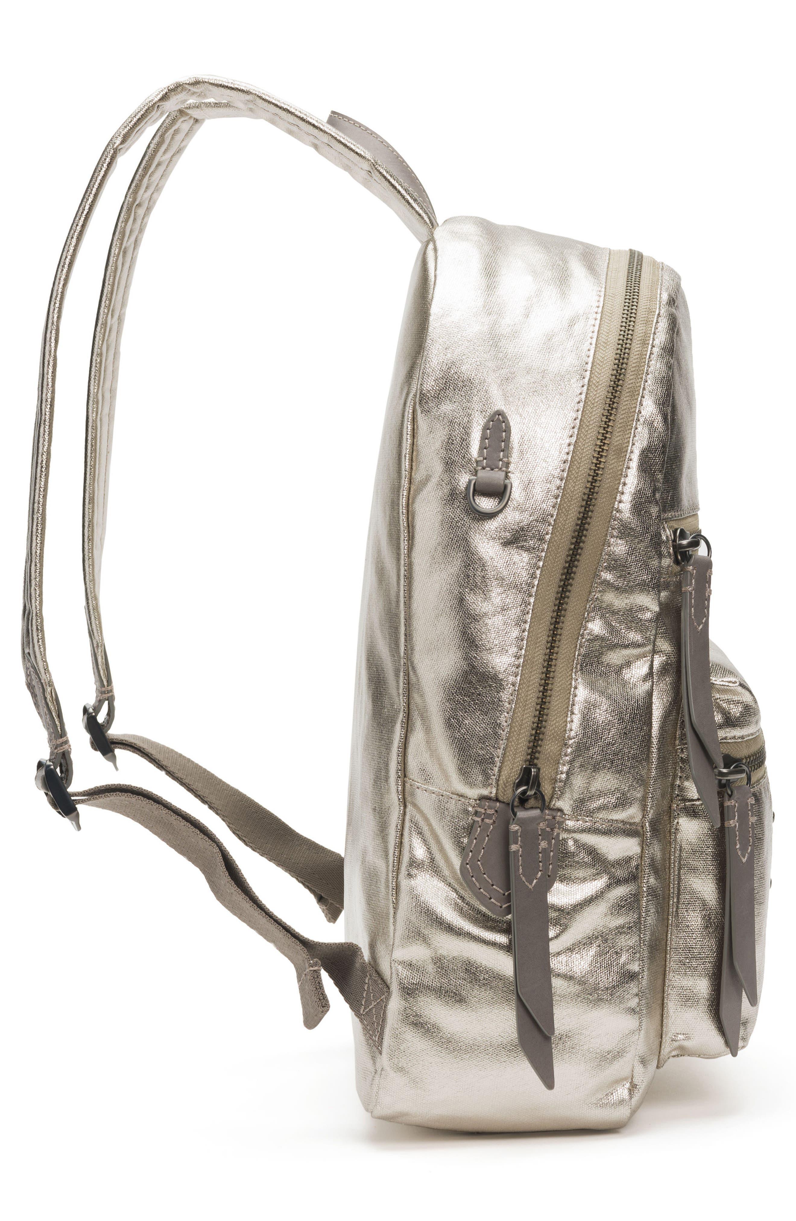 Ivy Metallic Nylon Backpack,                             Alternate thumbnail 5, color,                             020