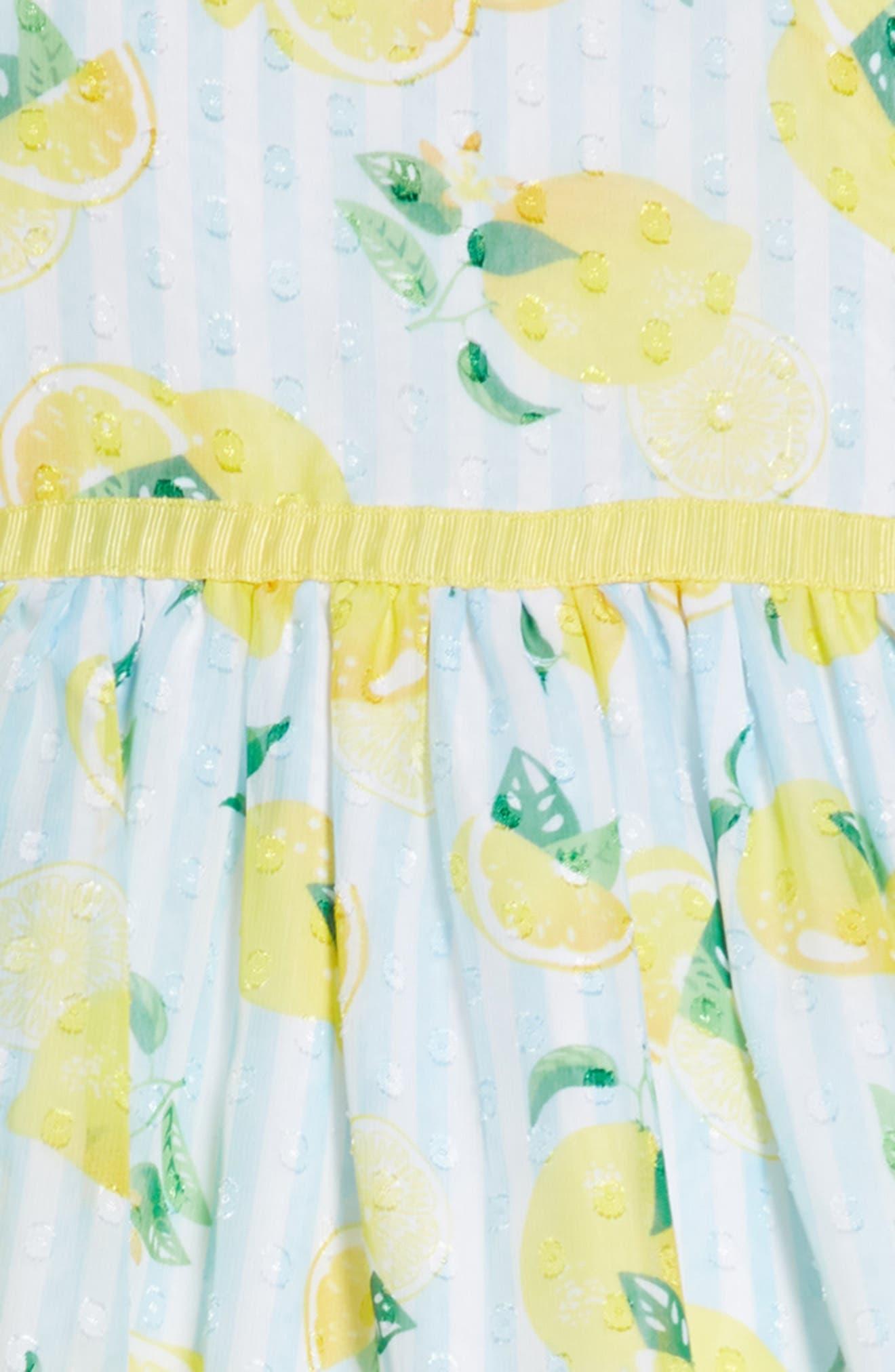Lemon Print Dress,                             Alternate thumbnail 3, color,                             700