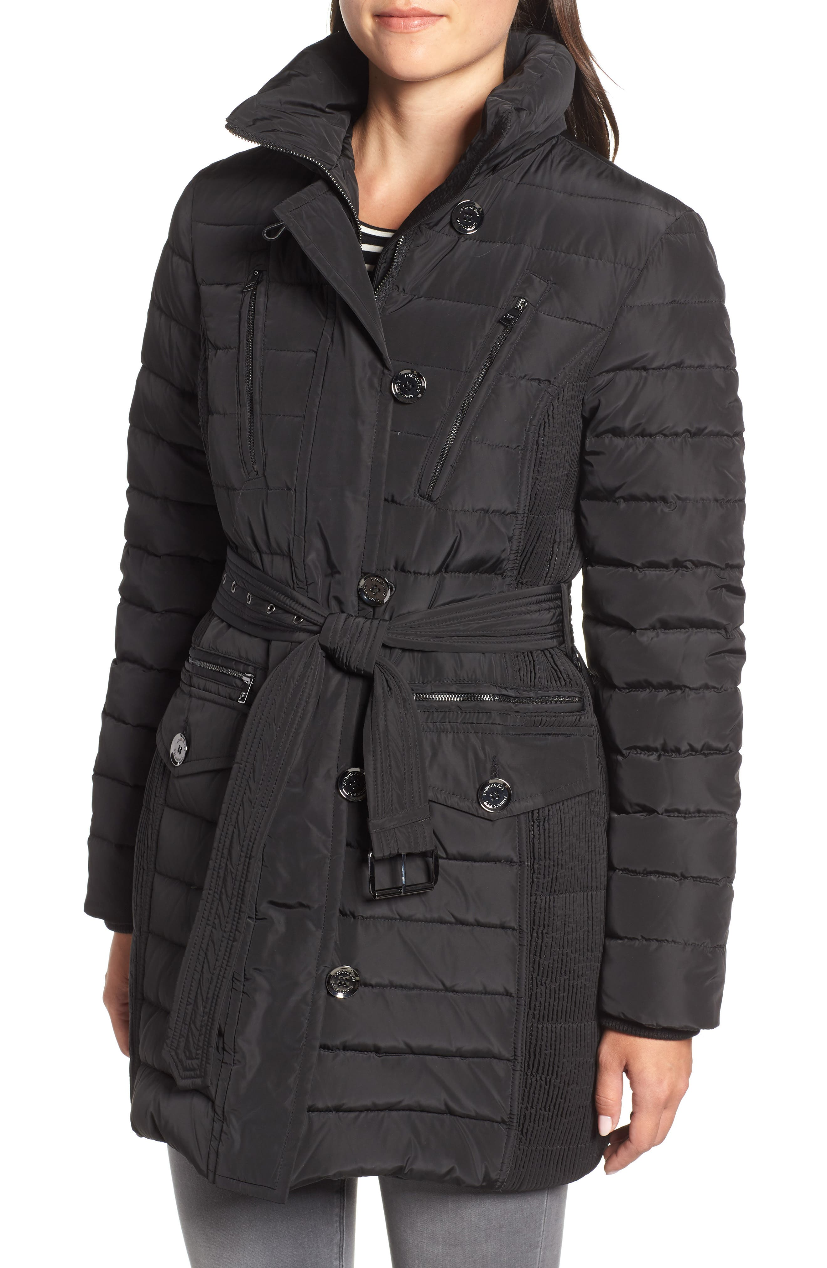 Belted Down Coat with Faux Fur Trim,                             Alternate thumbnail 4, color,                             BLACK