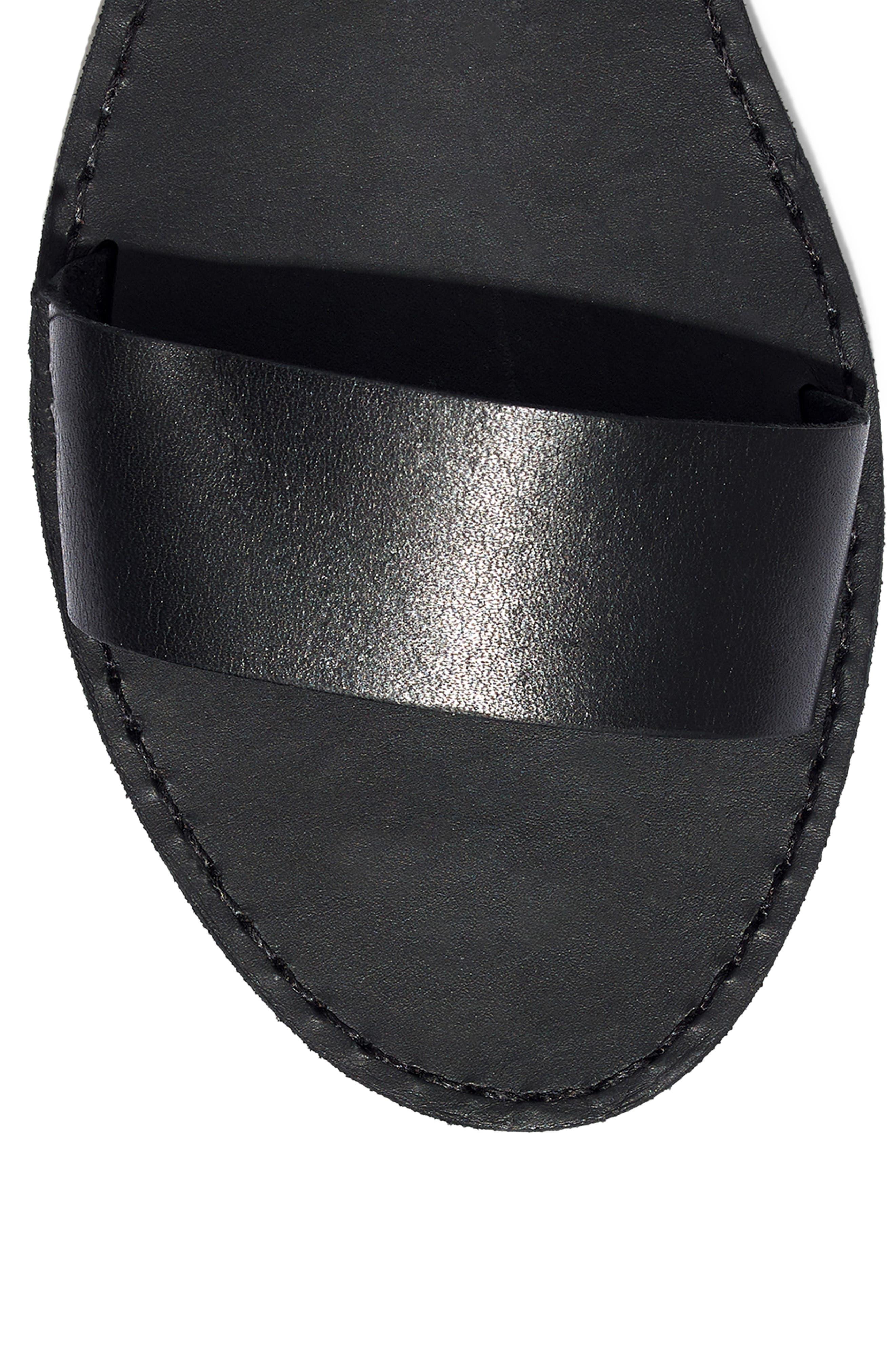MADEWELL,                             The Boardwalk Ankle Strap Sandal,                             Alternate thumbnail 5, color,                             TRUE BLACK LEATHER