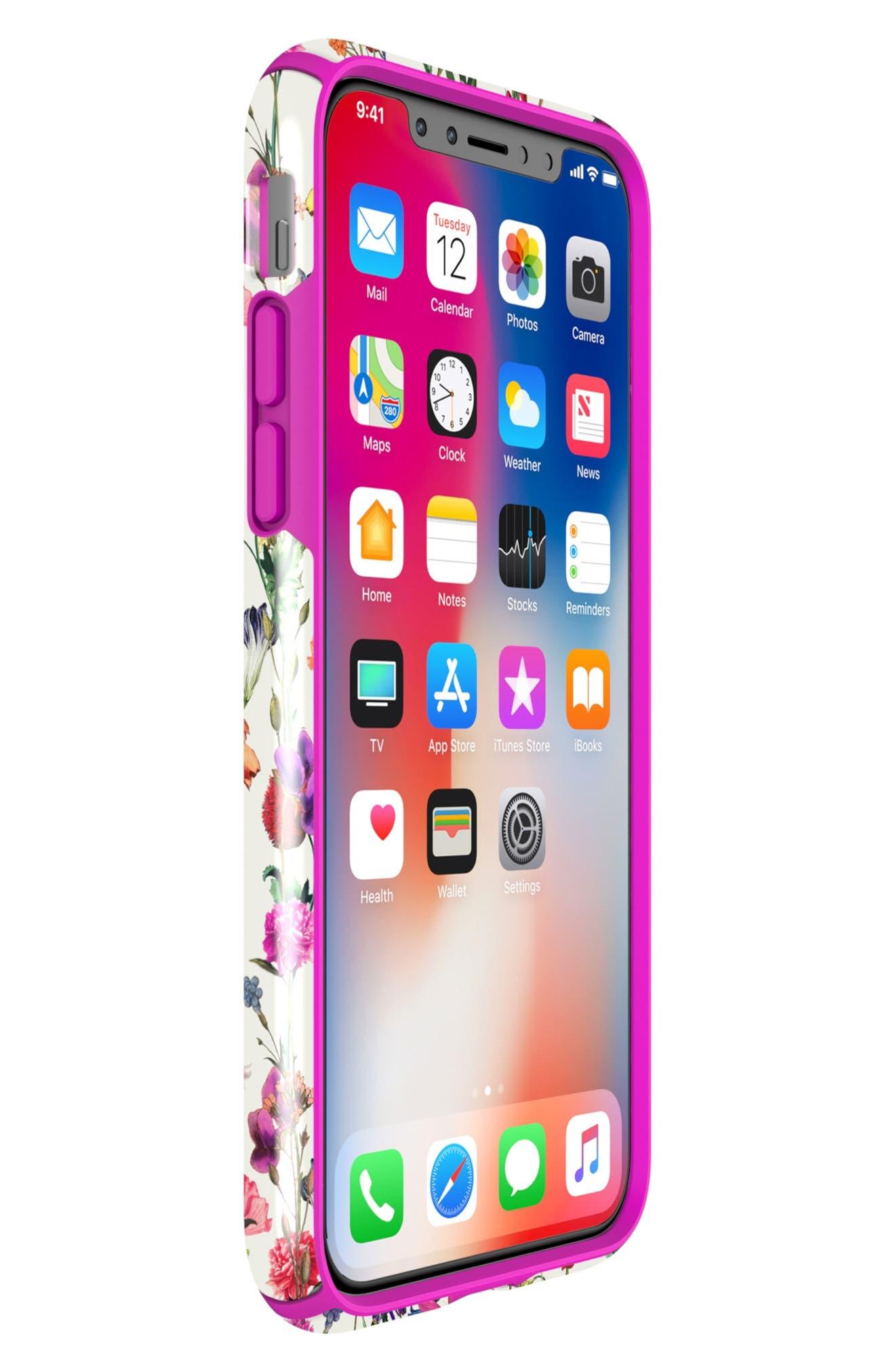 Presidio Inked iPhone X & Xs Case,                             Alternate thumbnail 8, color,                             WHITEFLOWERS/ LIPSTICK PINK