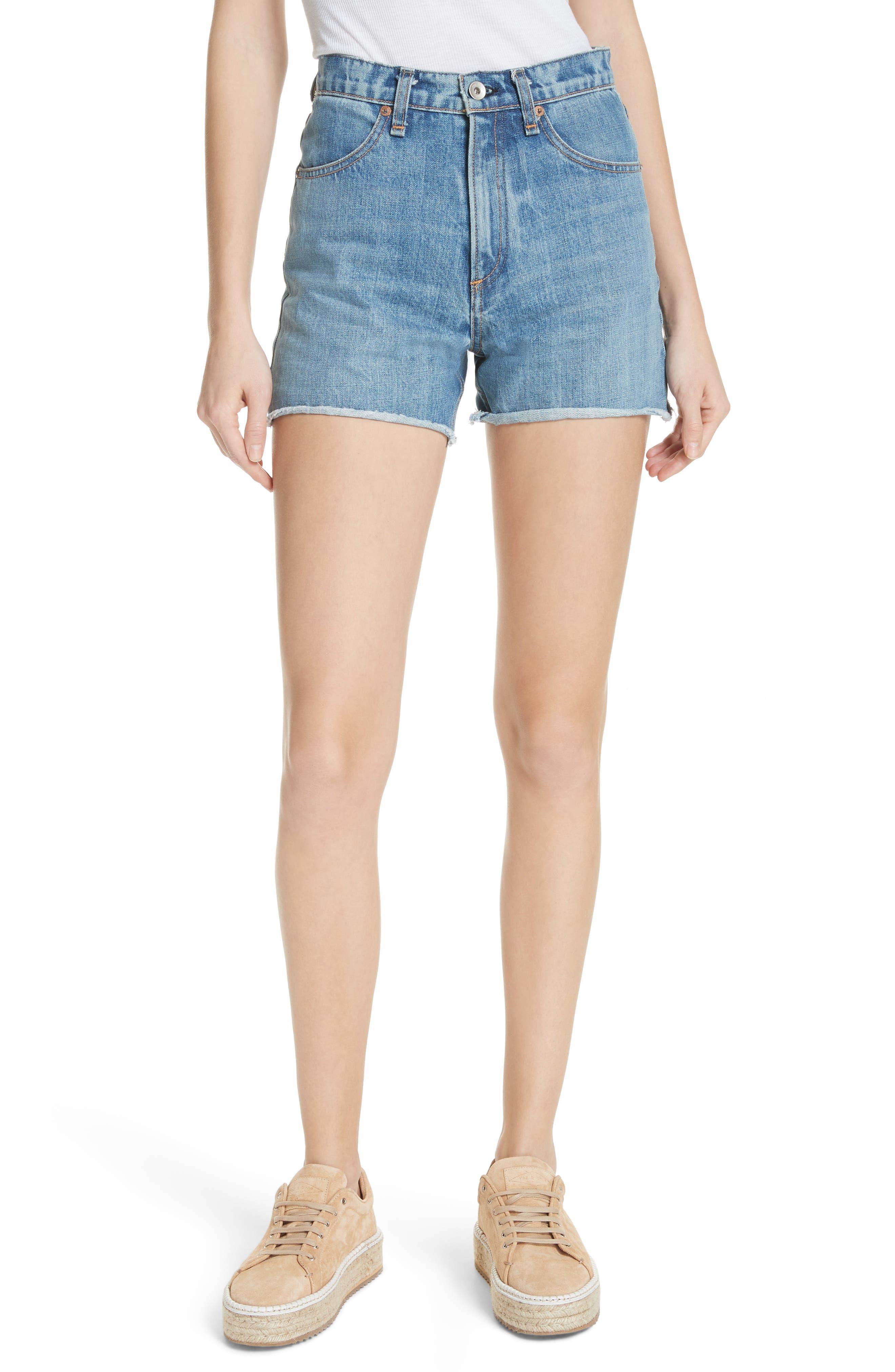 Torti High Waist Denim Shorts,                         Main,                         color, 400
