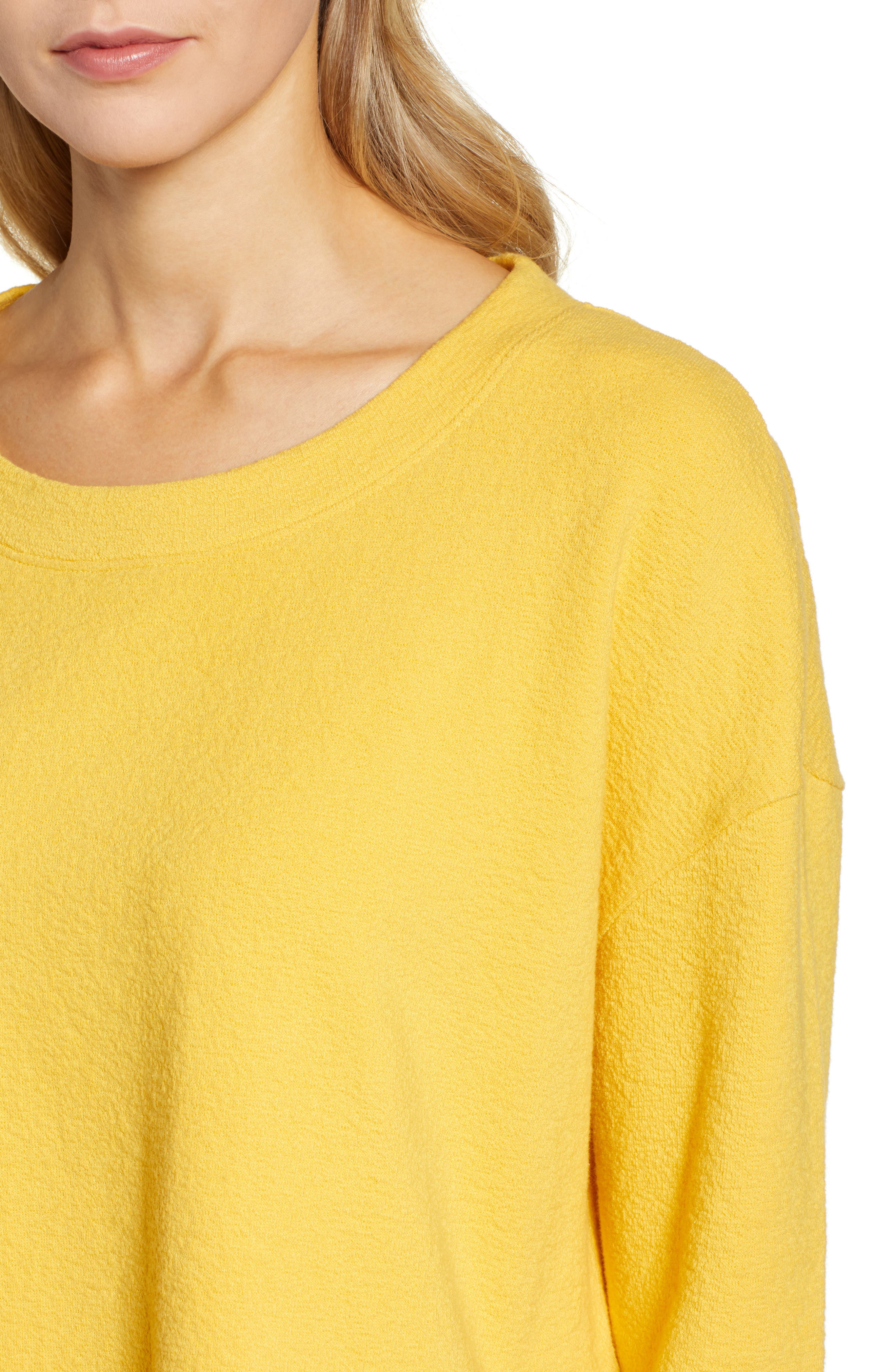 CASLON<SUP>®</SUP>,                             Side Slit Relaxed Sweatshirt,                             Alternate thumbnail 4, color,                             YELLOW WHIP