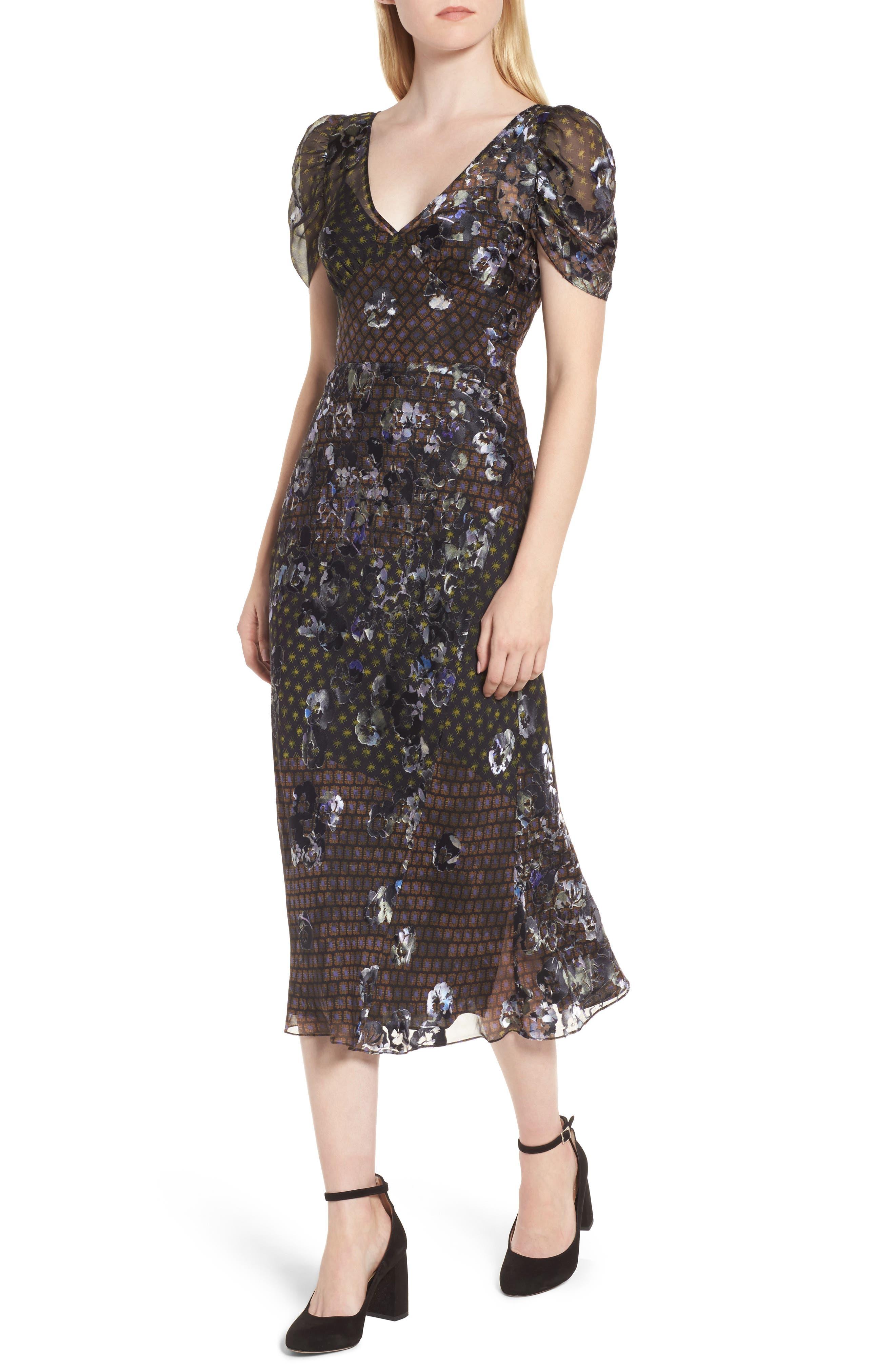 Puff Sleeve Devore Jacquard Midi Dress,                         Main,                         color, 001