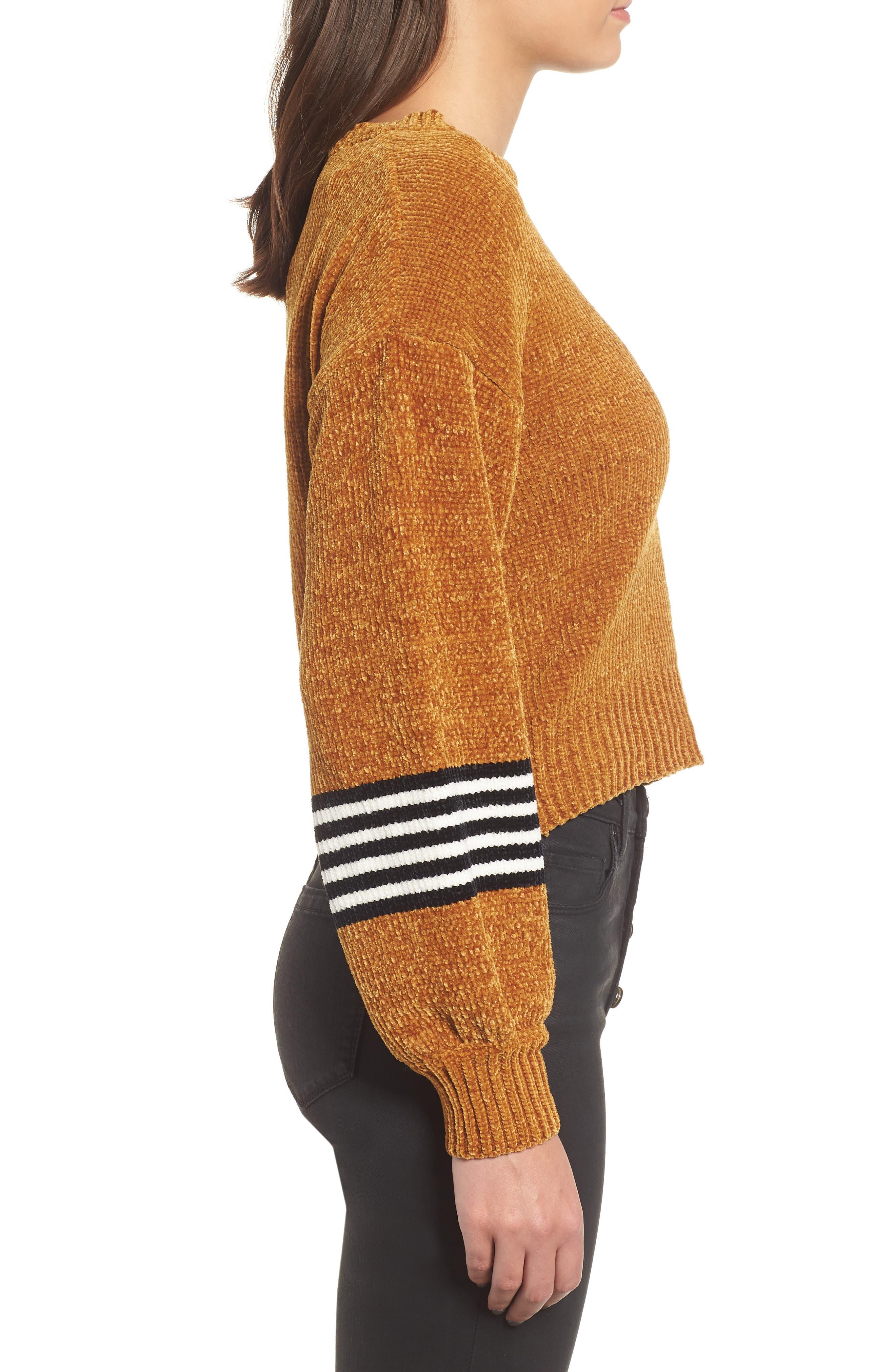 Stripe Sleeve Chenille Sweater,                             Alternate thumbnail 3, color,                             700