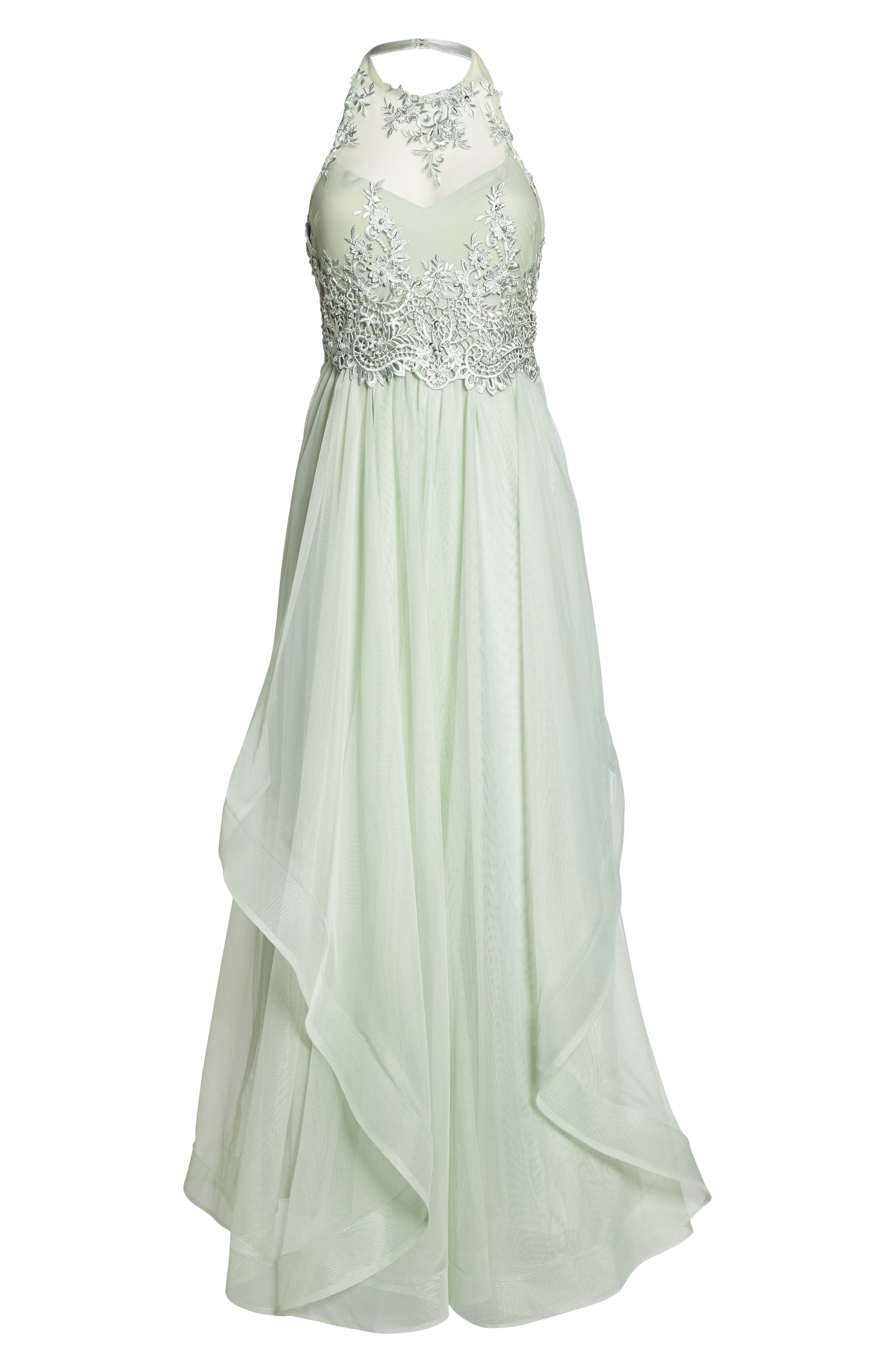 Embroidered Halter Gown,                             Alternate thumbnail 6, color,                             SAGE