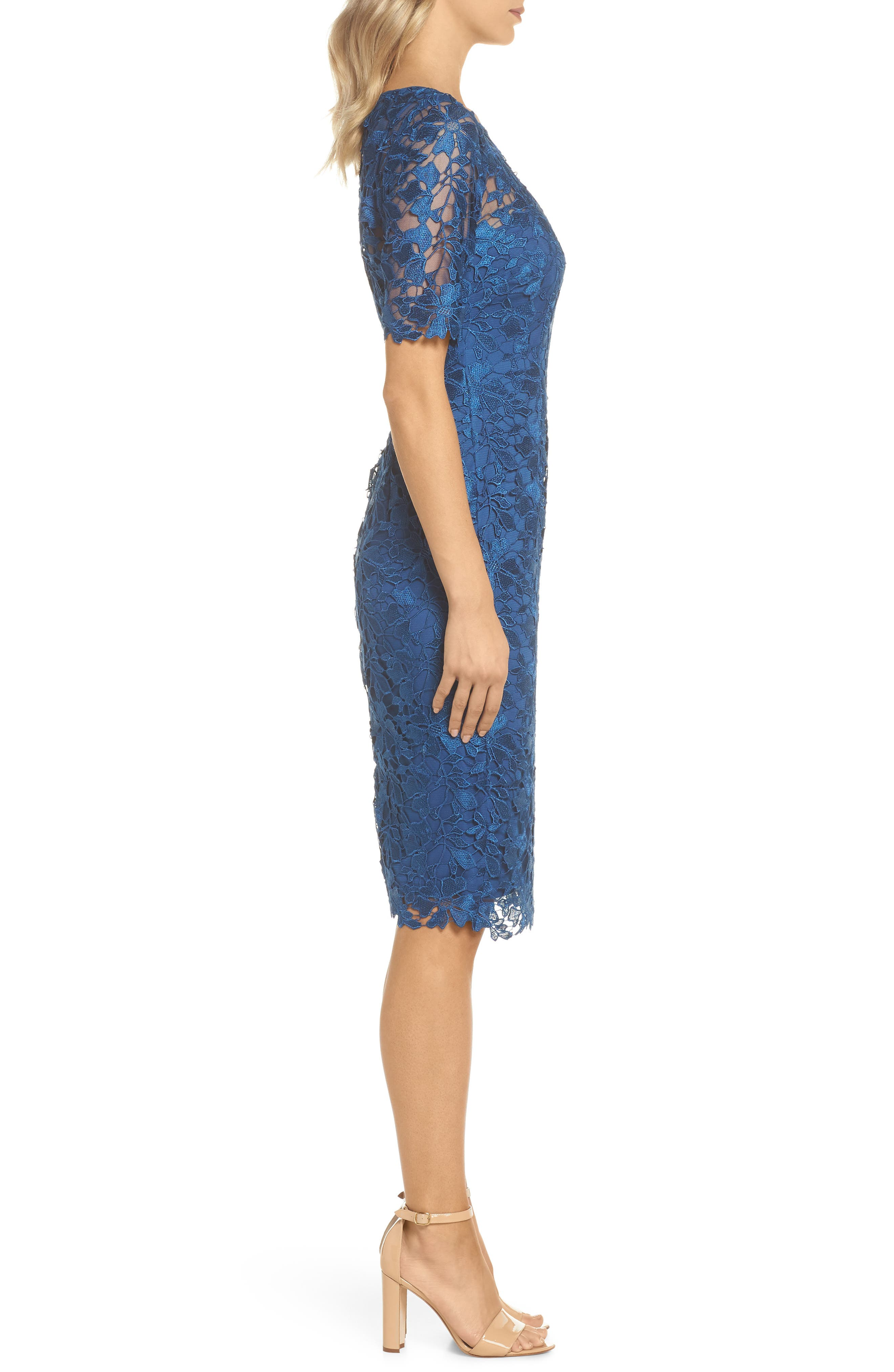 ADRIANNA PAPELL,                             Guipure Lace Sheath Dress,                             Alternate thumbnail 3, color,                             413