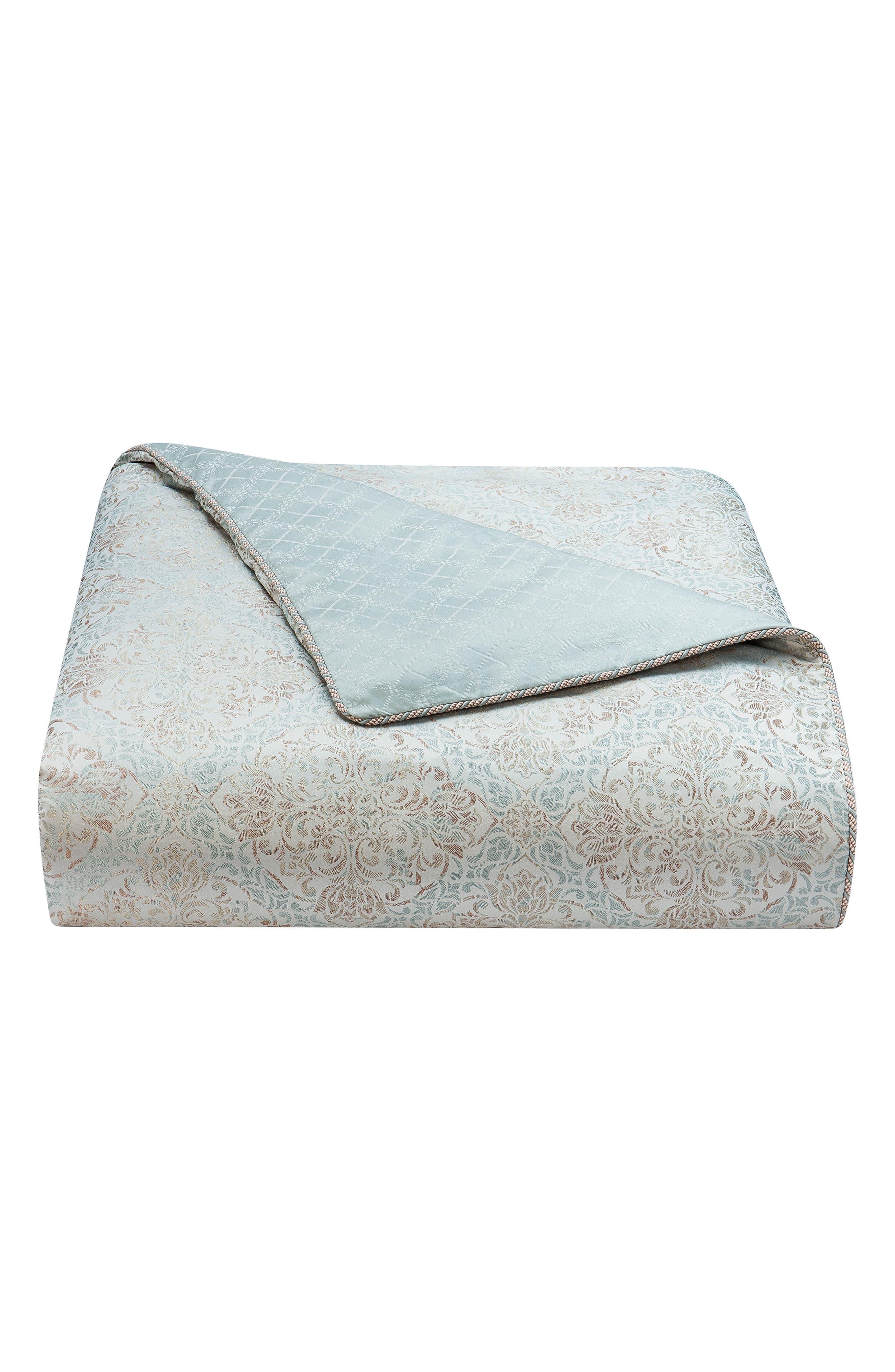 Gwyneth Reversible Comforter, Sham & Bedskirt Set,                             Alternate thumbnail 6, color,                             PALE BLUE