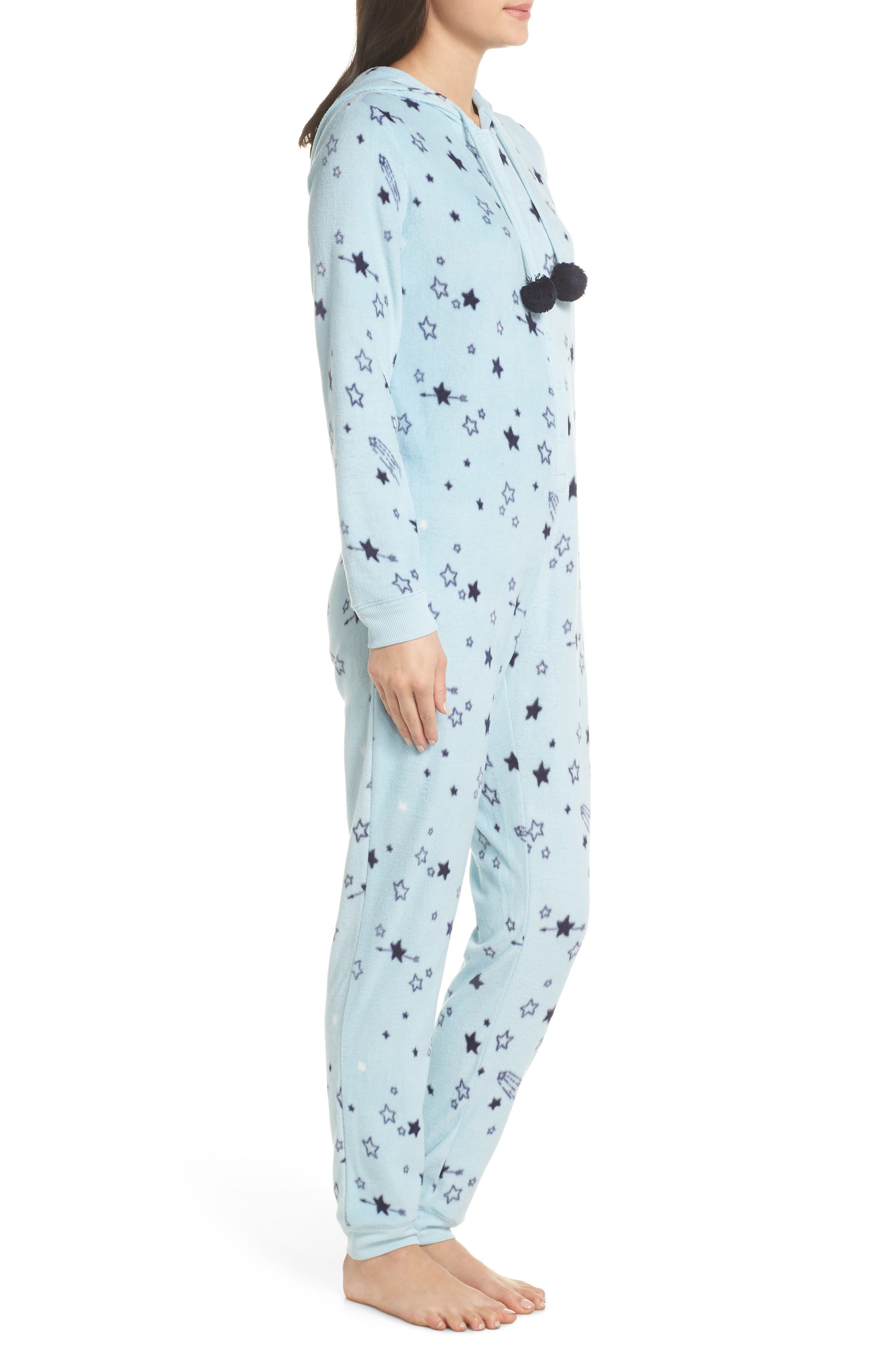 Hooded Pajama Jumpsuit,                             Alternate thumbnail 3, color,                             BLUE OMPHALODES SHOOT 4 STARS