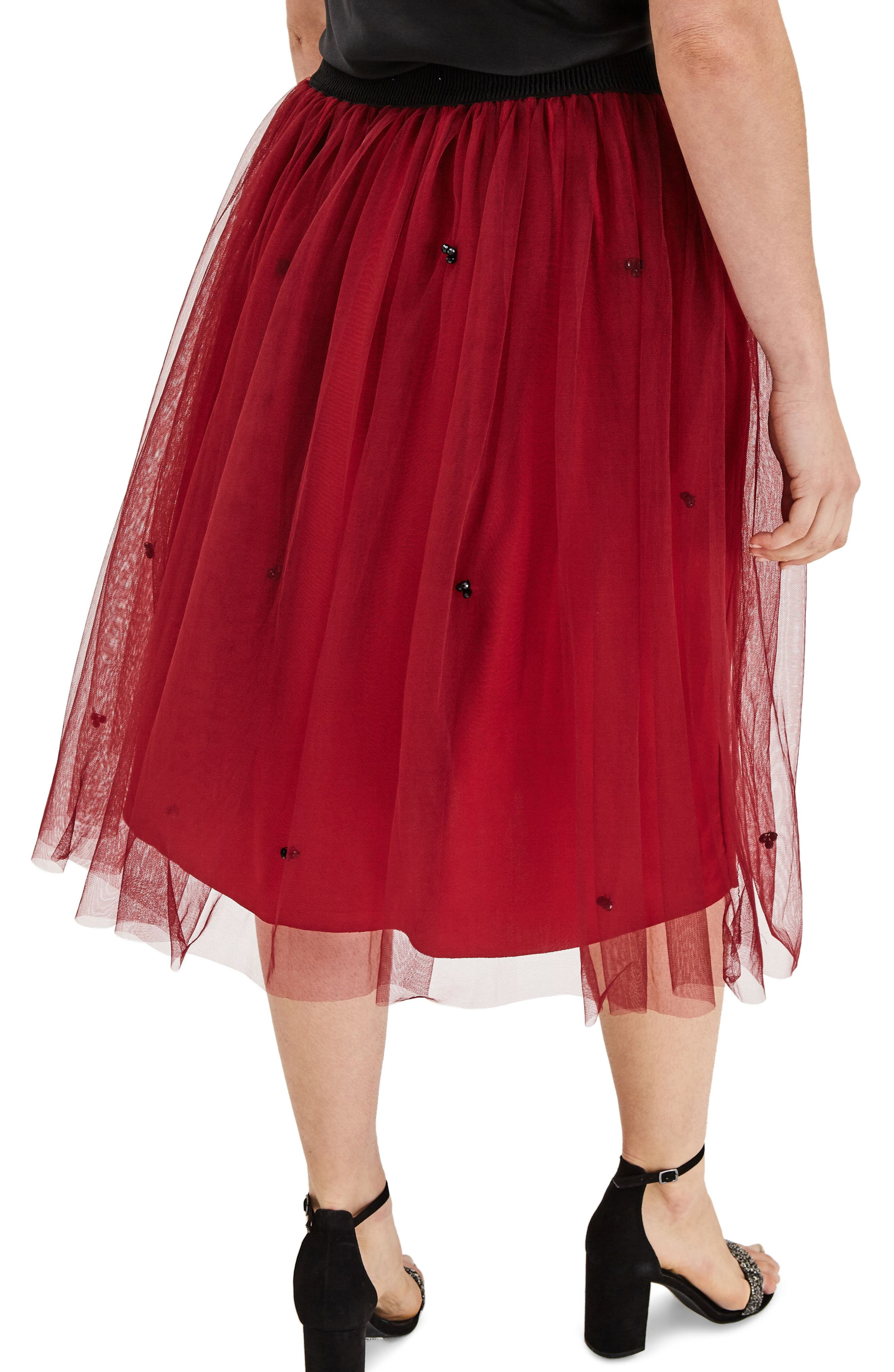 Red Tulle Beaded Skirt,                             Alternate thumbnail 2, color,                             600