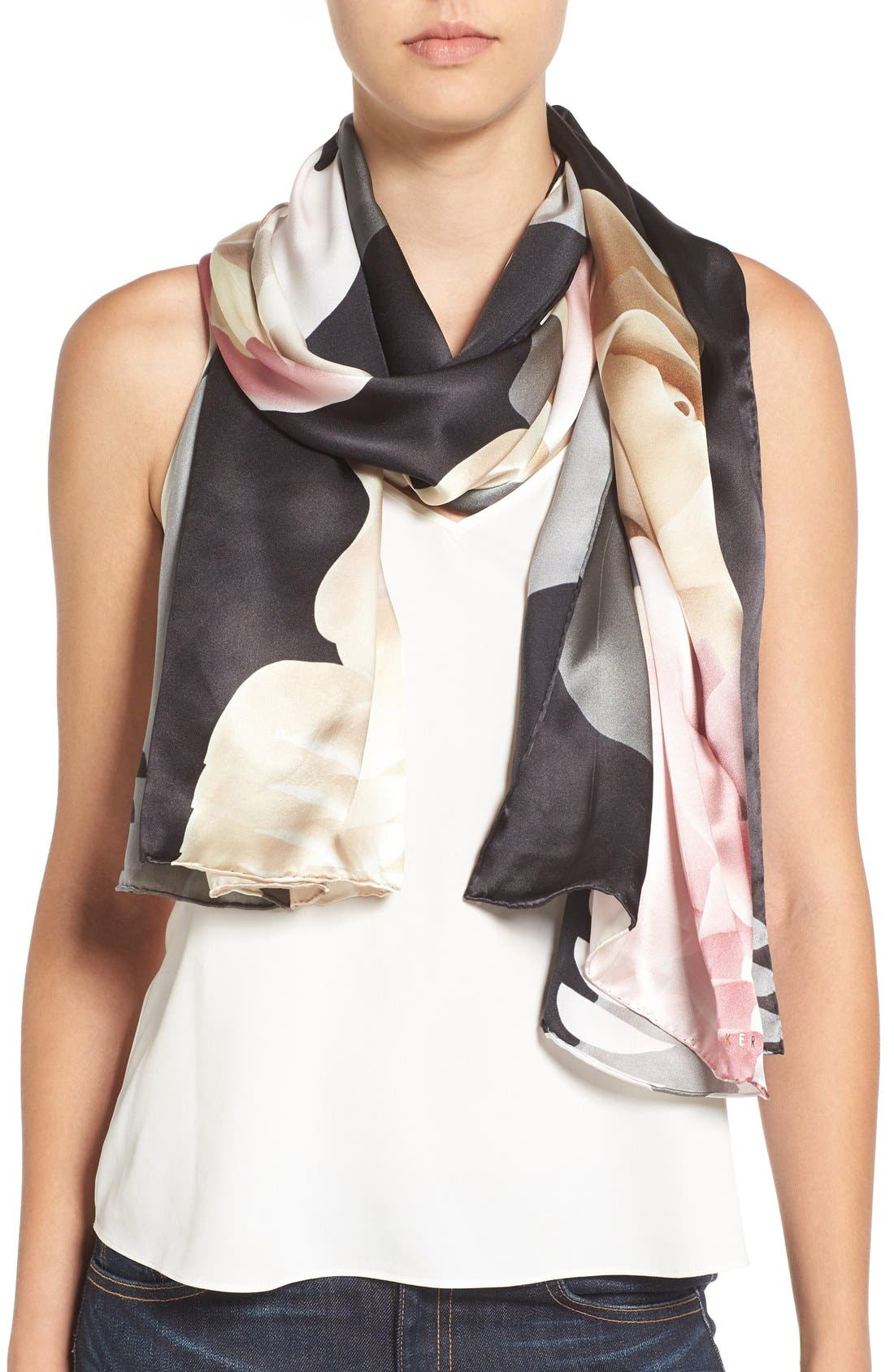 'Porcelain Rose' Silk Scarf,                             Main thumbnail 1, color,                             001