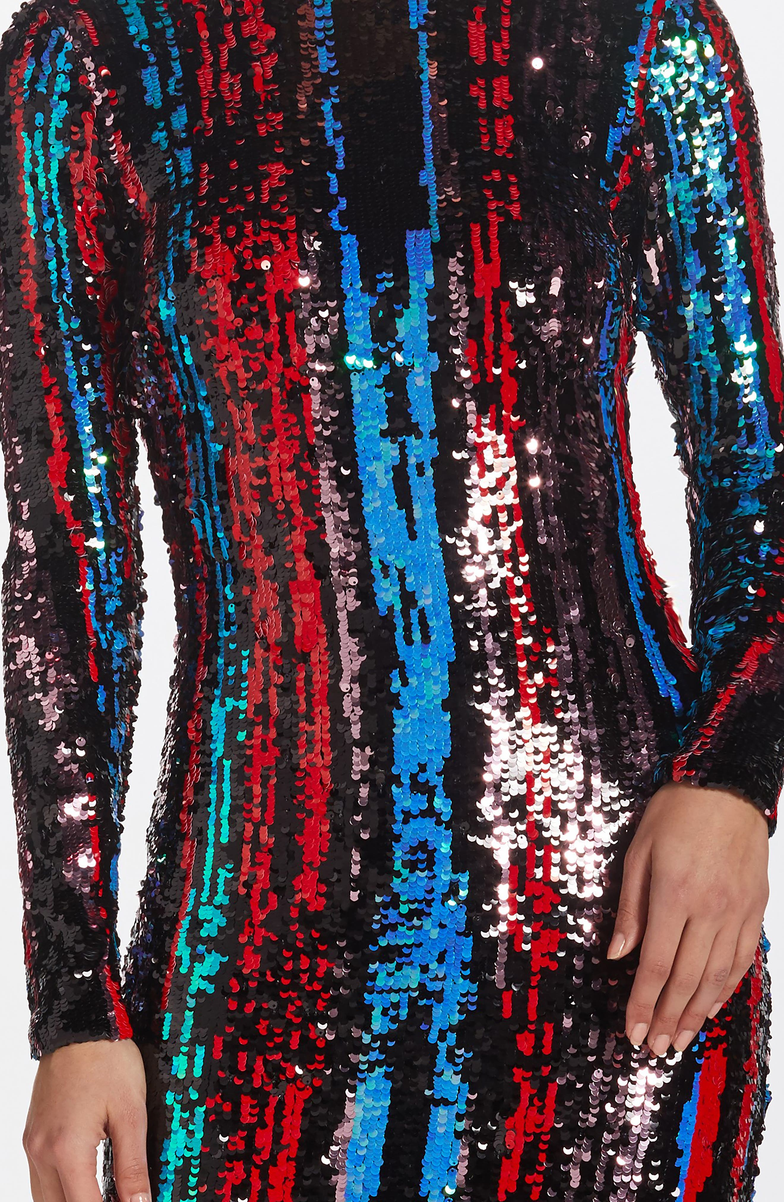 Lola Sequin Body-Con Dress,                             Alternate thumbnail 4, color,                             ROUGE RED MULTI