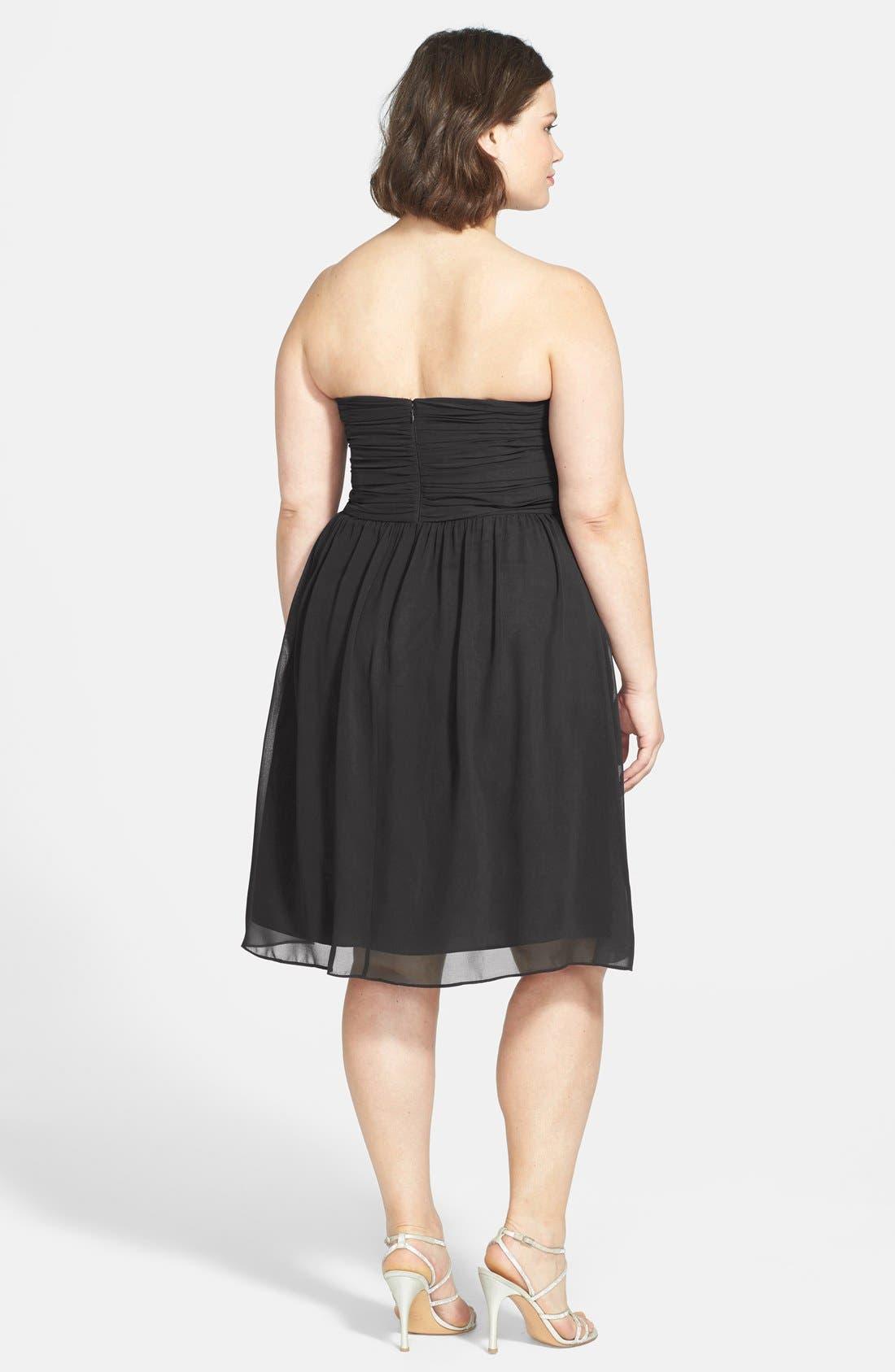 'Sarah' Strapless Ruched Chiffon Dress,                             Alternate thumbnail 2, color,                             001