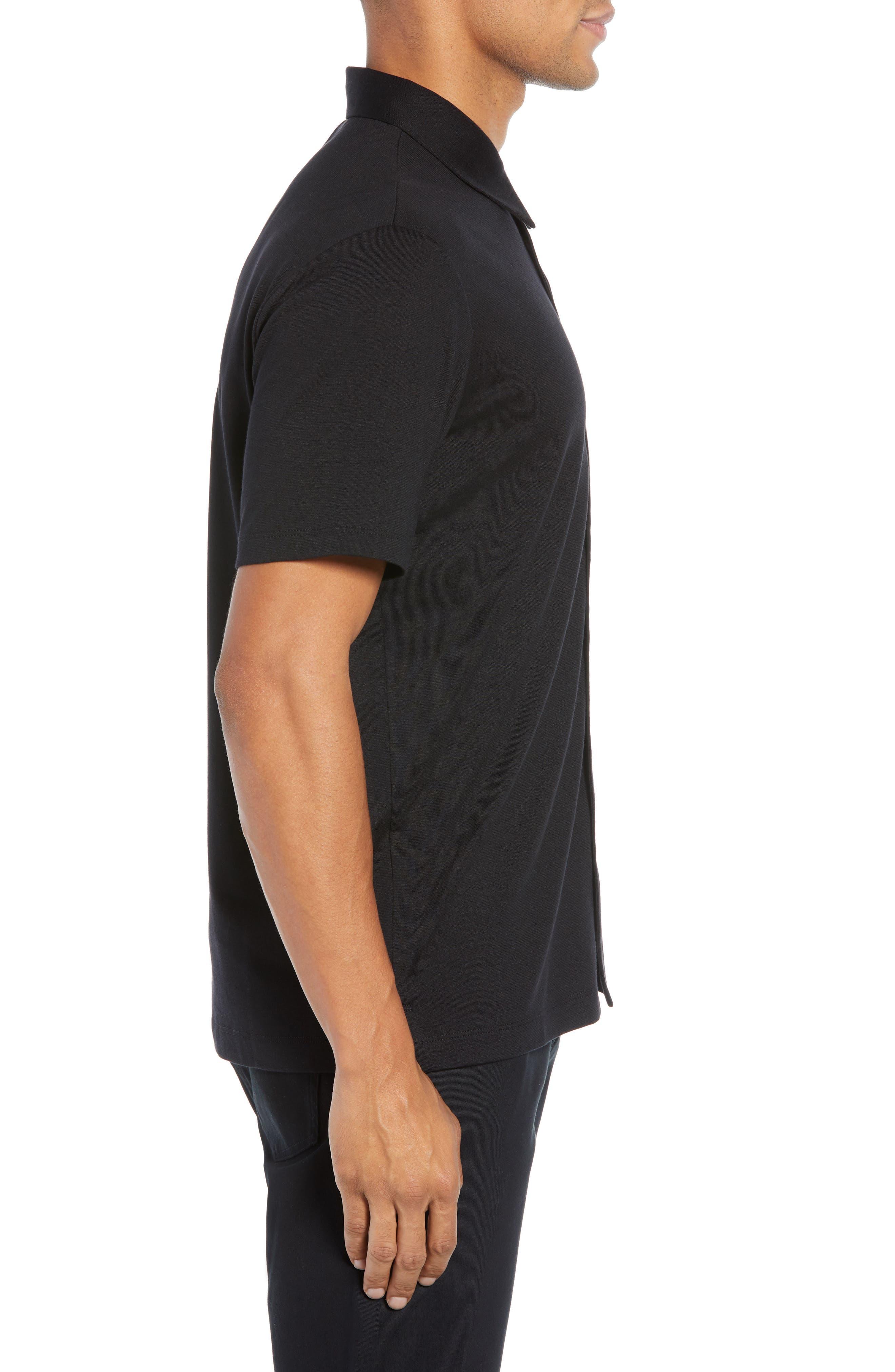 Incisi Slim Fit Knit Silk Blend Shirt,                             Alternate thumbnail 3, color,                             BLACK