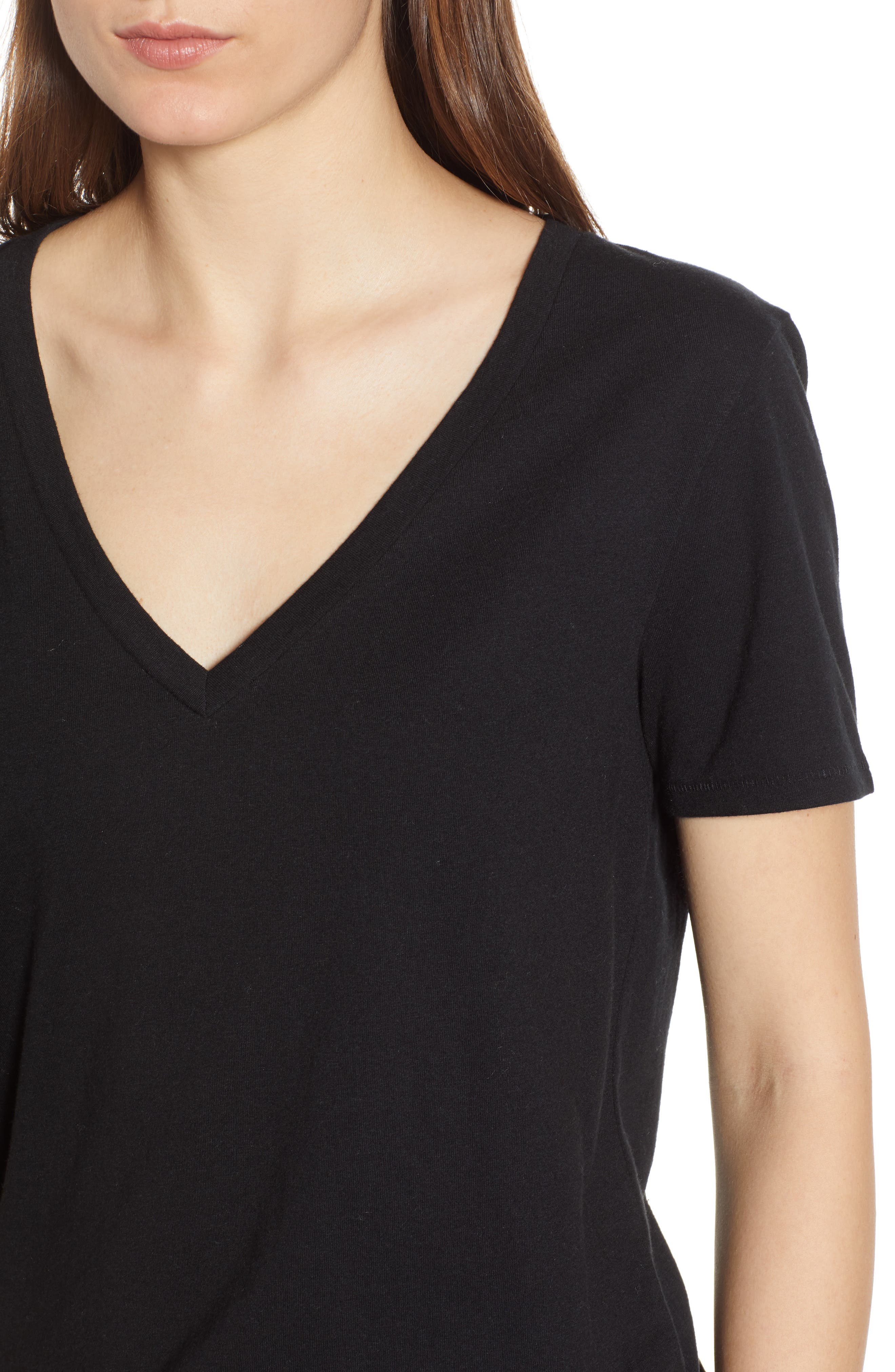 BP.,                             V-Neck Tee,                             Alternate thumbnail 4, color,                             BLACK