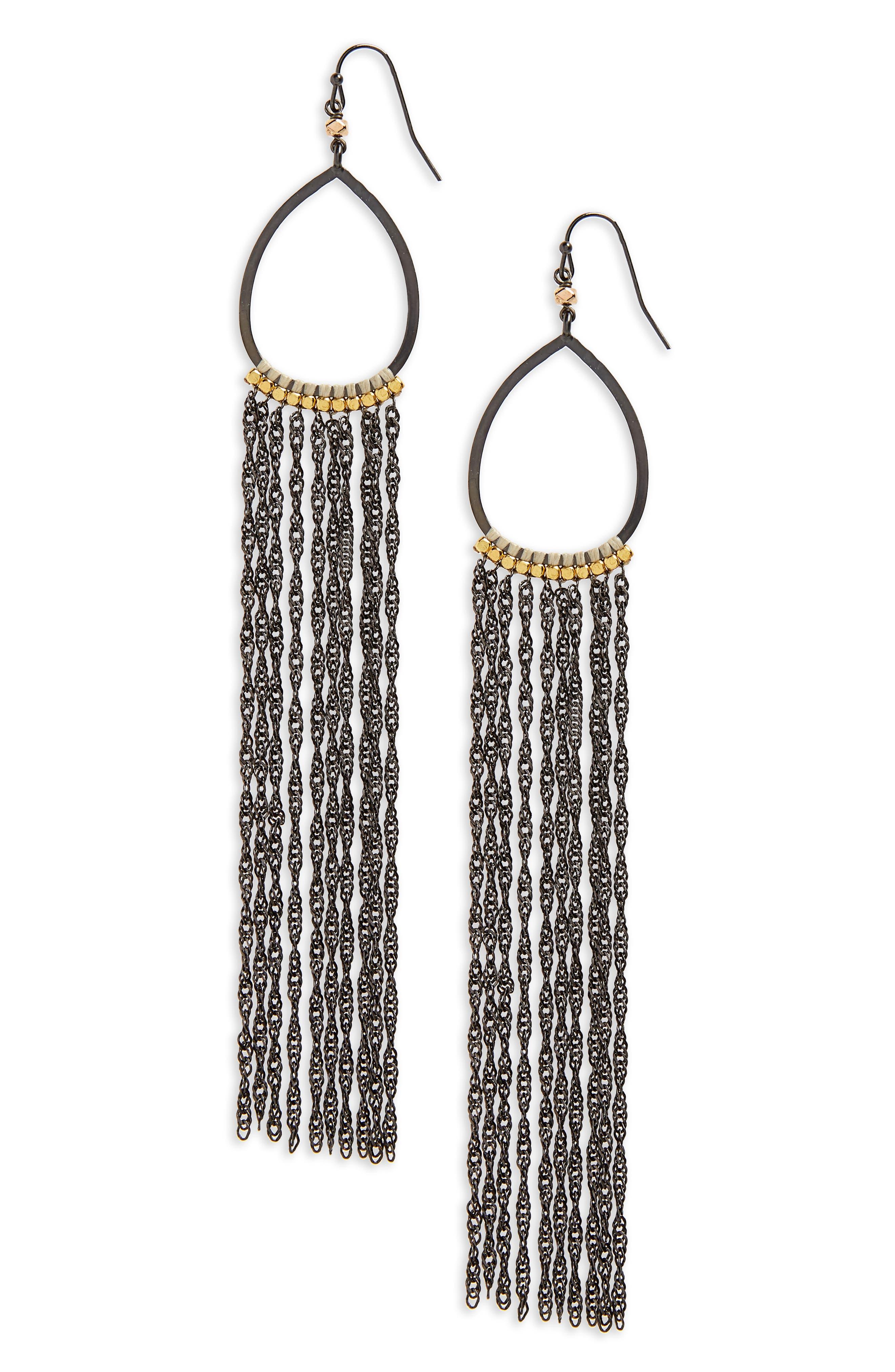 Extra Long Chain Fringe Earrings,                             Main thumbnail 1, color,                             020