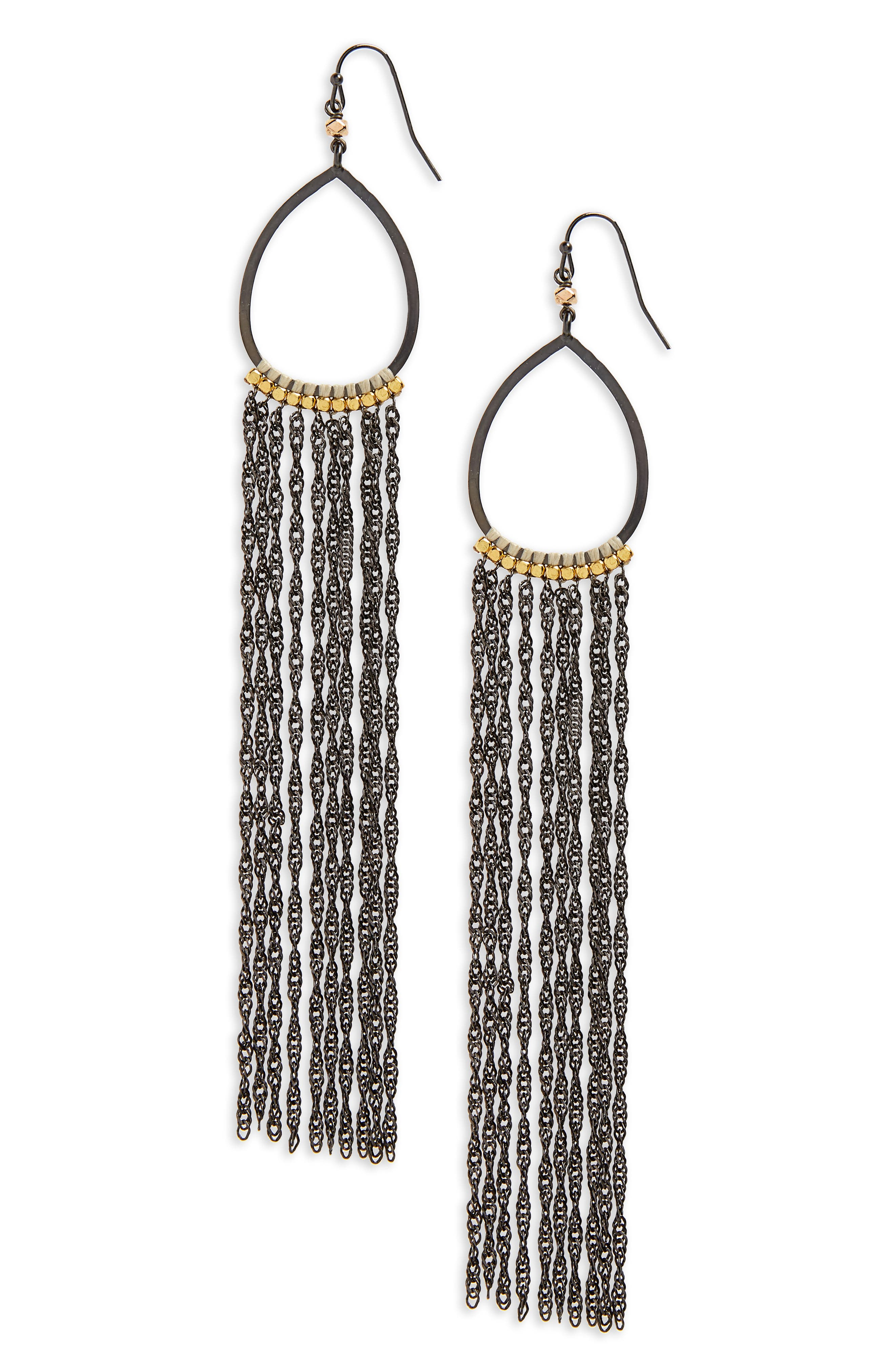 Extra Long Chain Fringe Earrings,                         Main,                         color,