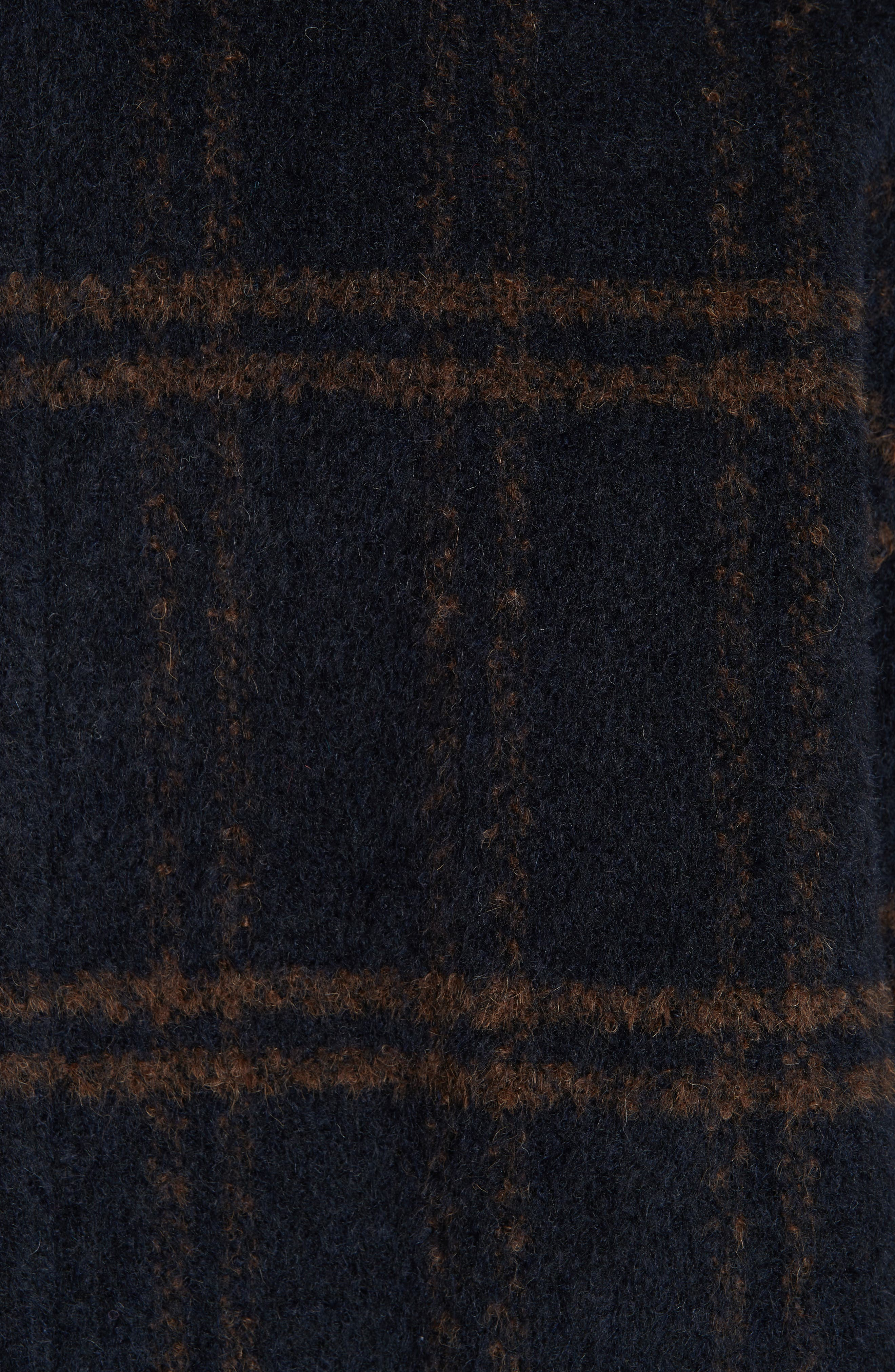 Double Breasted Plaid Alpaca Blend Coat,                             Alternate thumbnail 6, color,                             MIDNIGHT