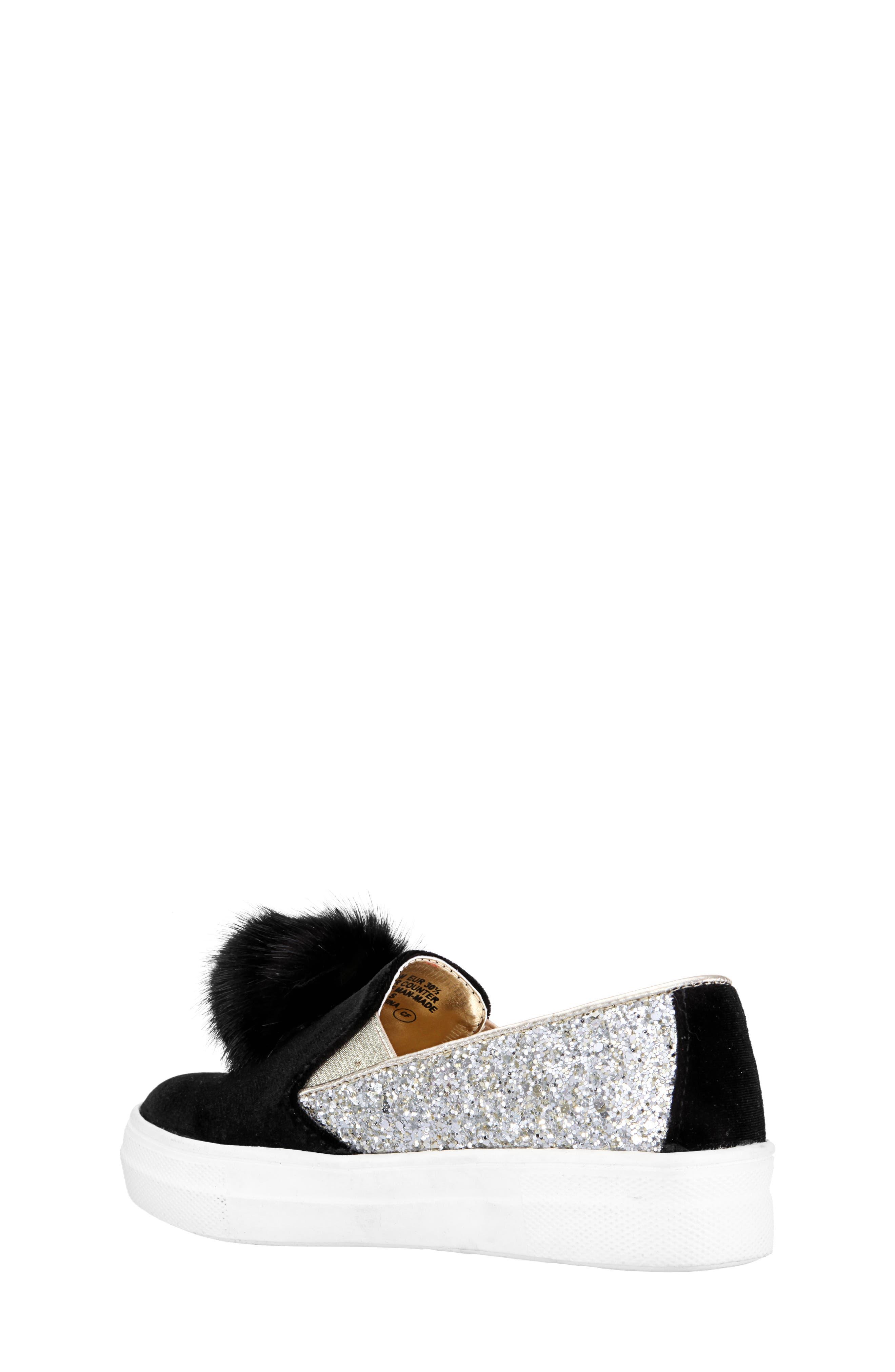 Hannie Glitter Pom Slip-On Sneaker,                             Alternate thumbnail 2, color,                             BLACK CHUNKY GLITTER/ VELVET