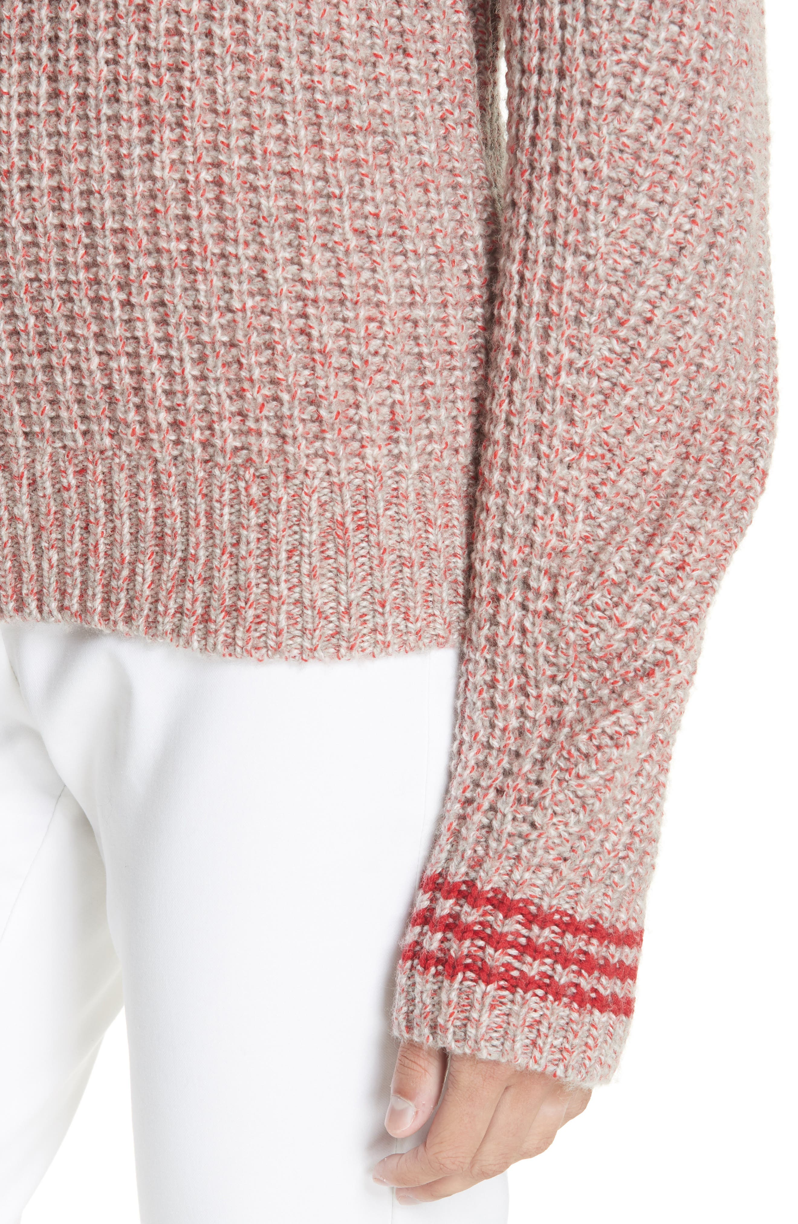 Cheryl Stripe Cuff Wool Blend Sweater,                             Alternate thumbnail 4, color,                             067