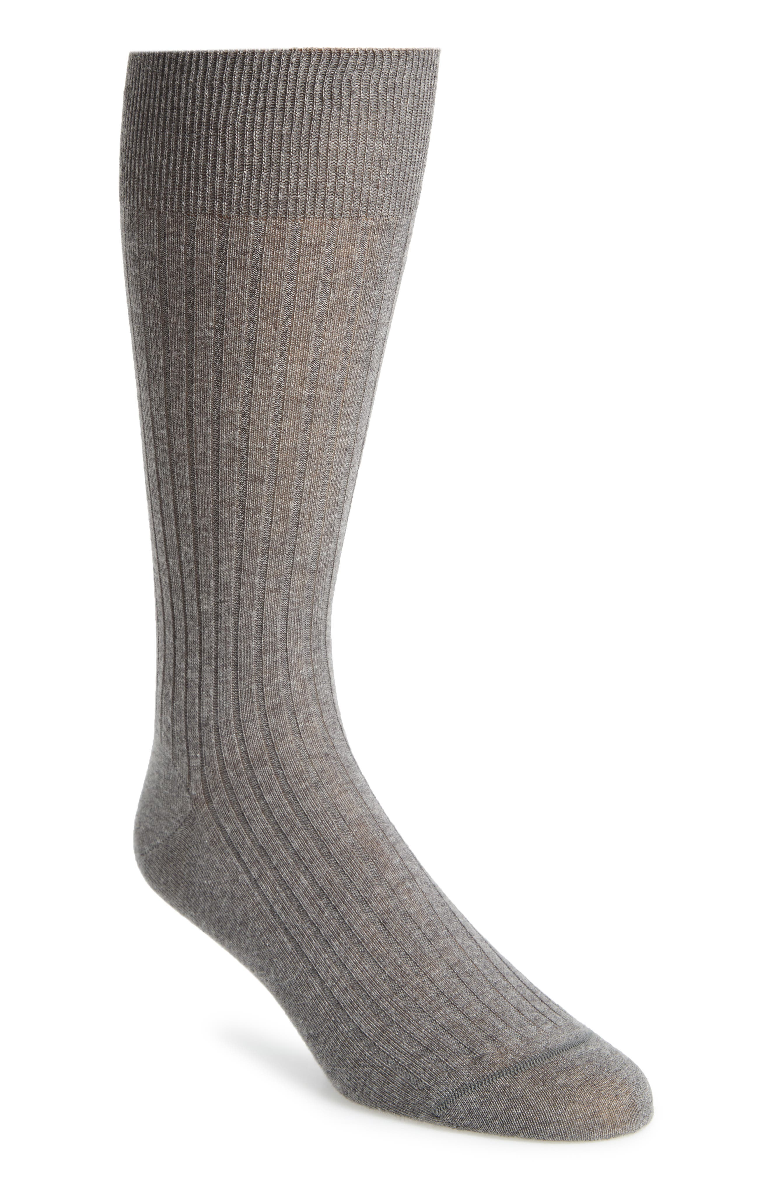 Ribbed Pima Cotton Crew Socks,                             Main thumbnail 1, color,                             GREY HEATHER