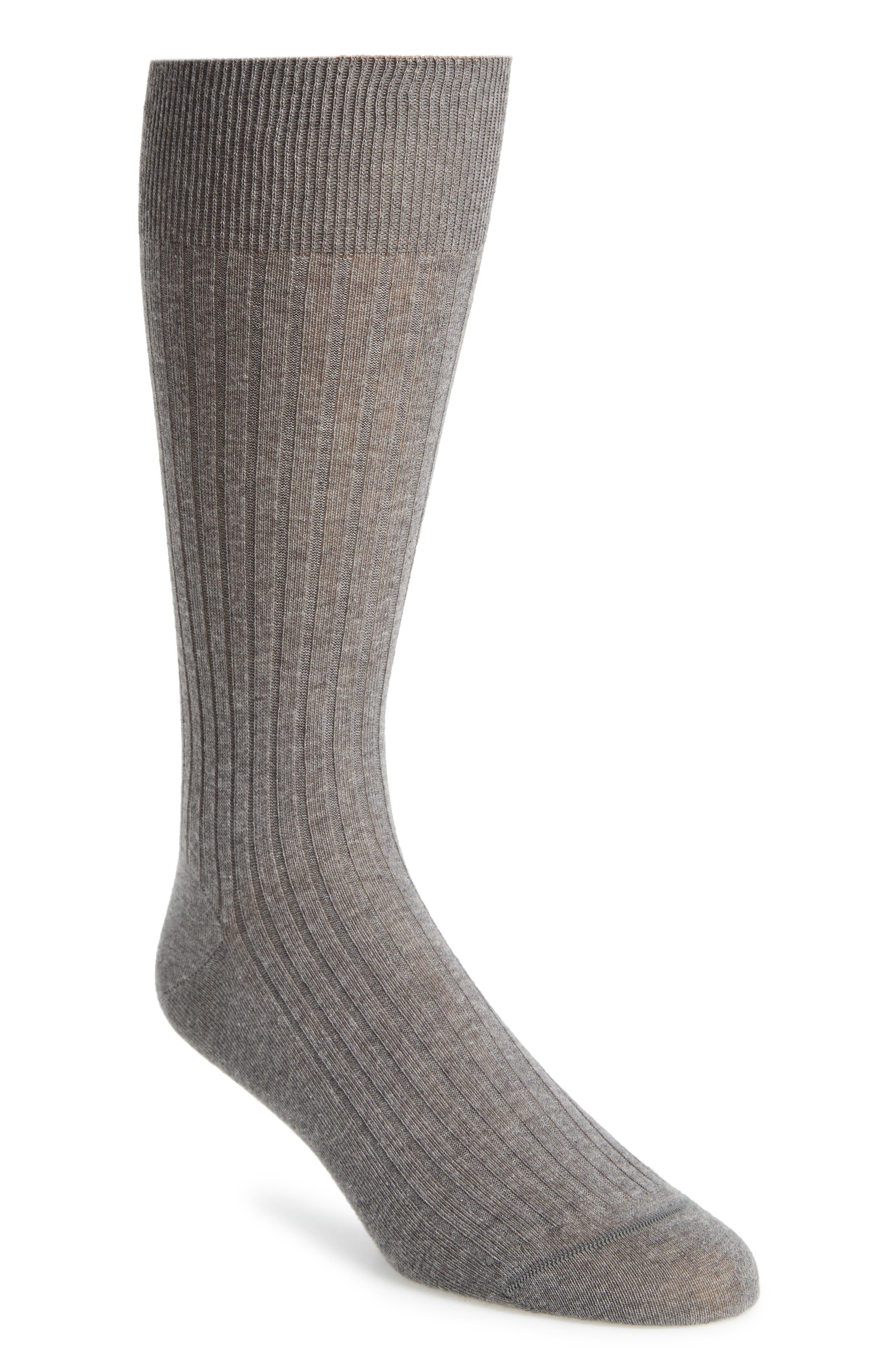 Ribbed Pima Cotton Crew Socks,                         Main,                         color, GREY HEATHER