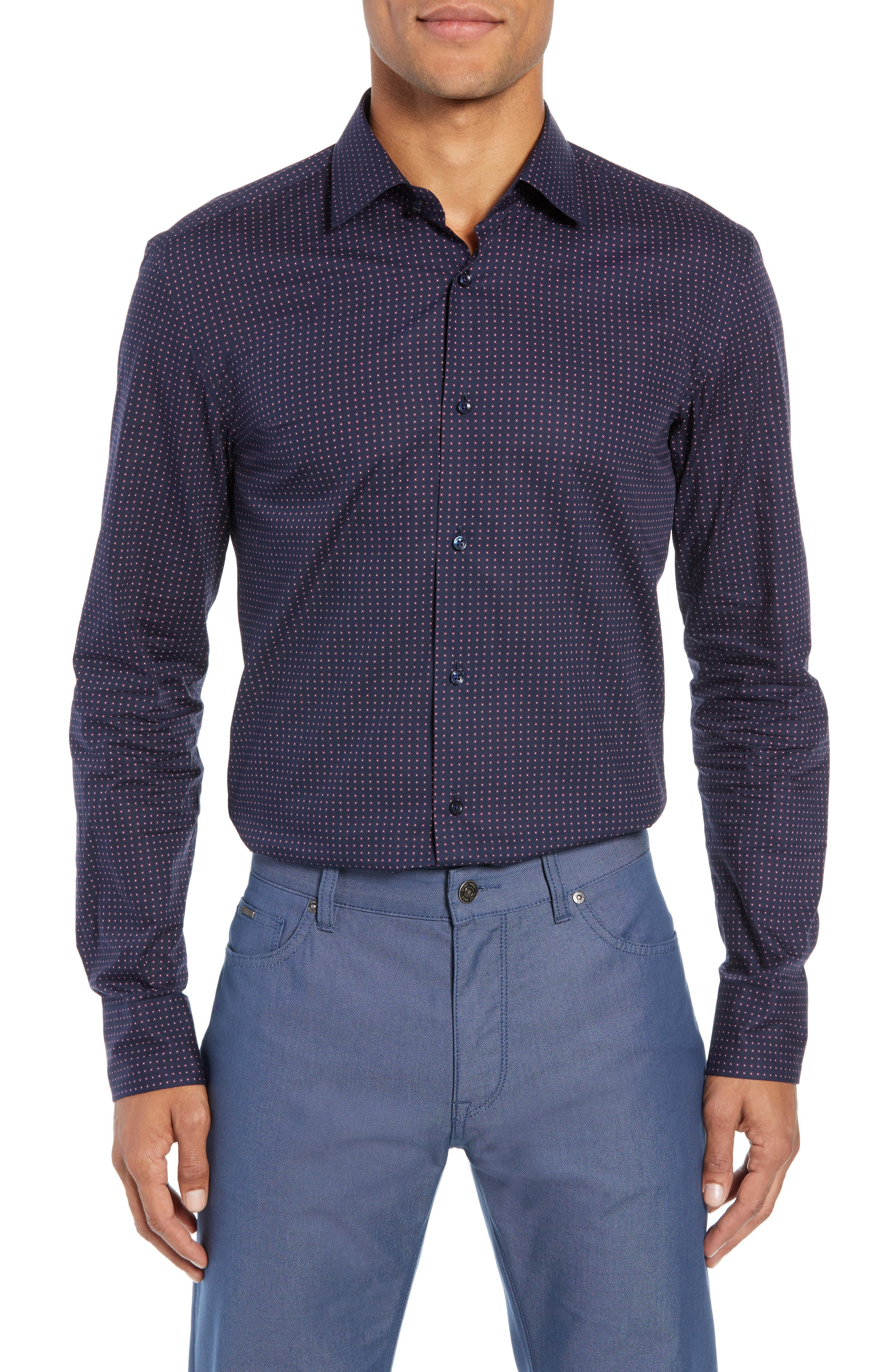 Jenno Slim Fit Dot Dress Shirt,                             Main thumbnail 1, color,                             NAVY