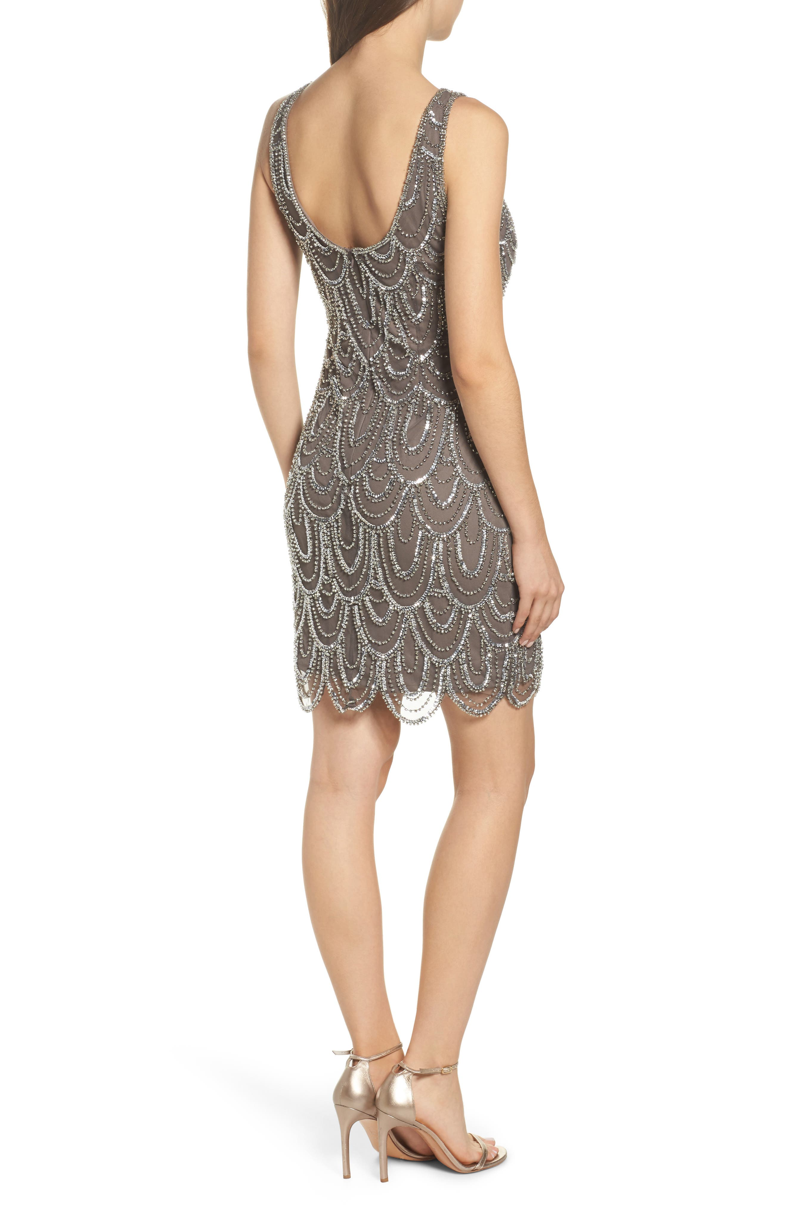 Embellished Mesh Sheath Dress,                             Alternate thumbnail 2, color,                             073