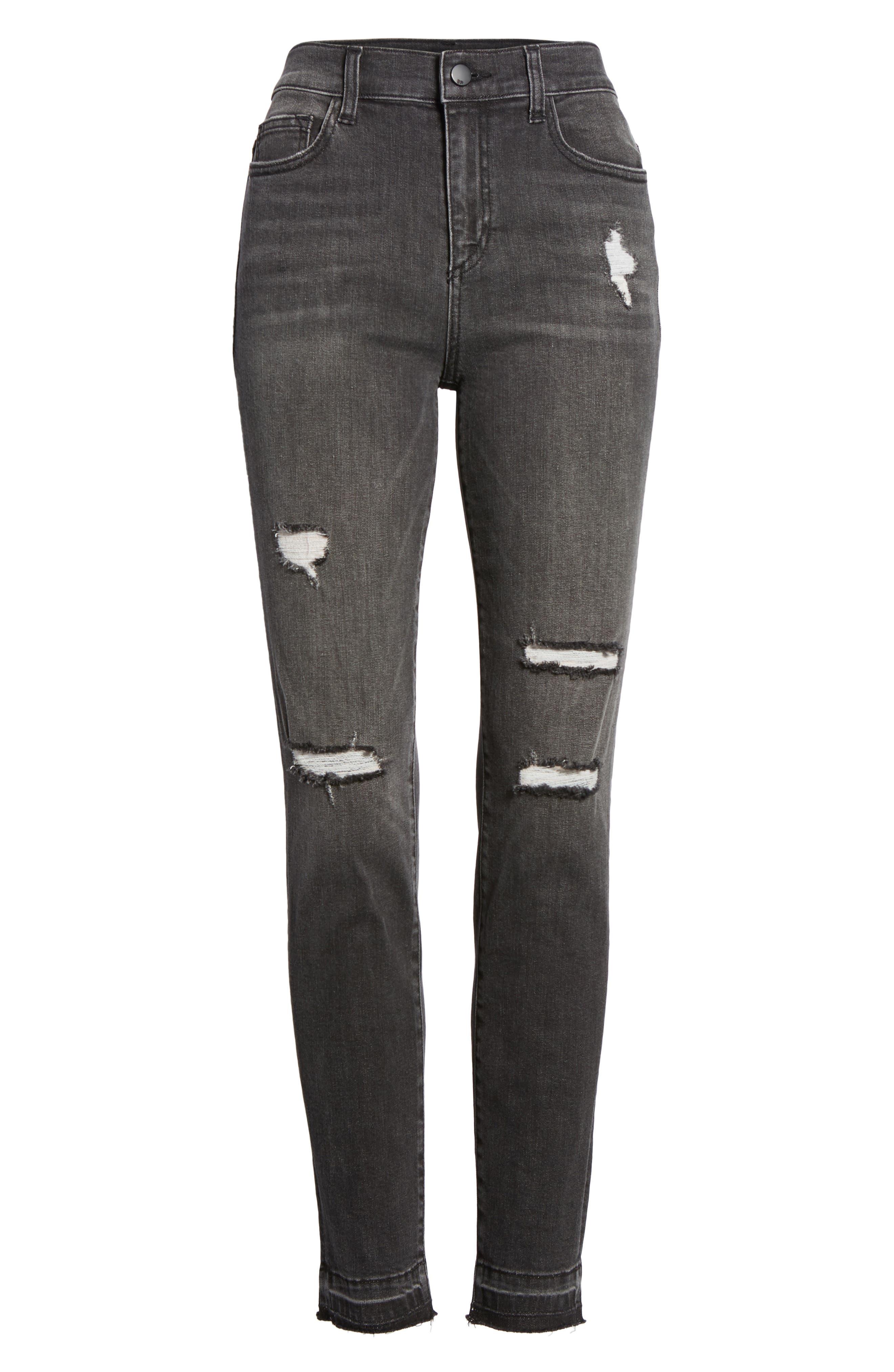 Ripped Release Hem Skinny Jeans,                             Alternate thumbnail 7, color,                             021