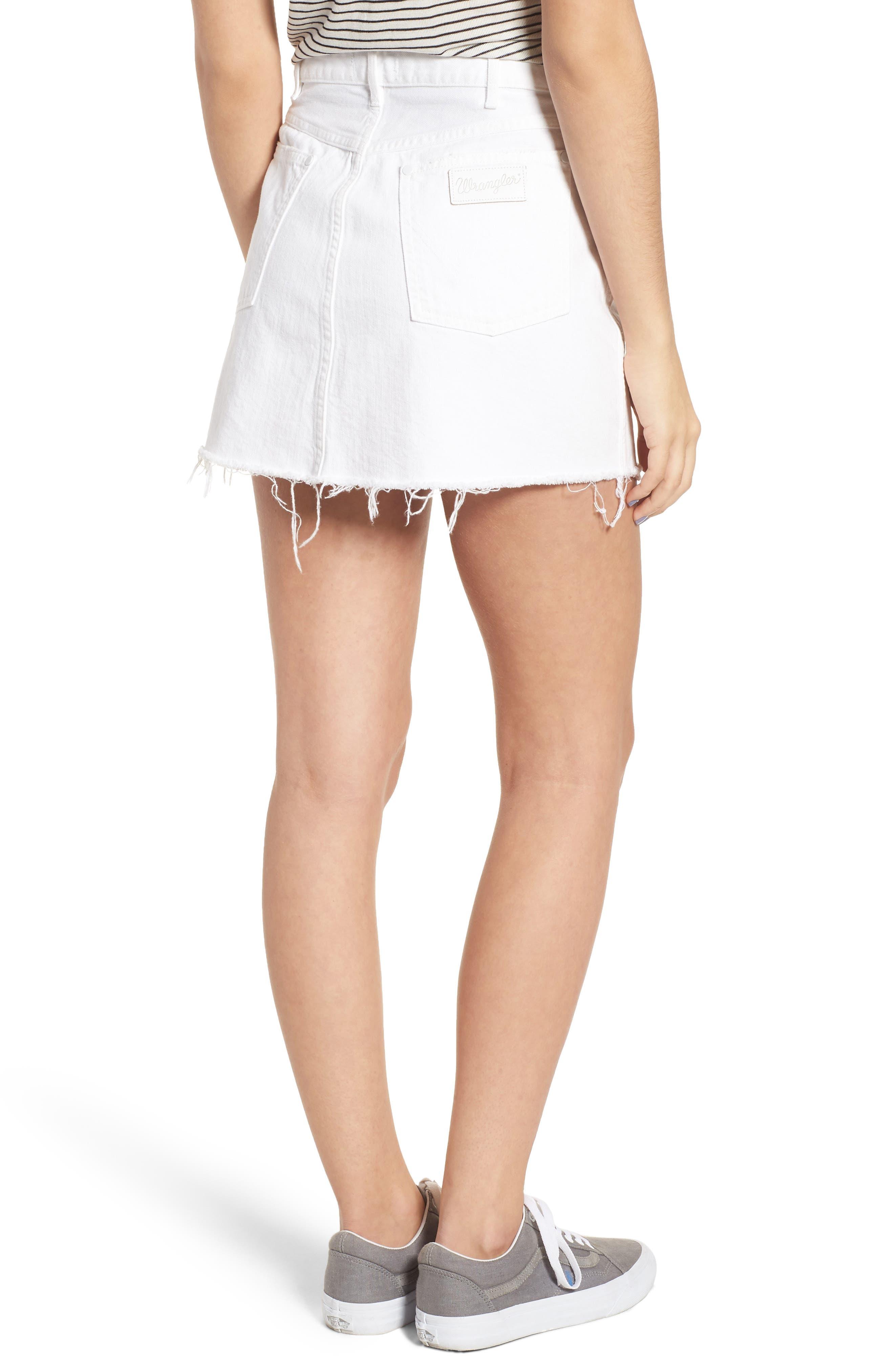 Fray Hem Denim Skirt,                             Alternate thumbnail 2, color,                             100