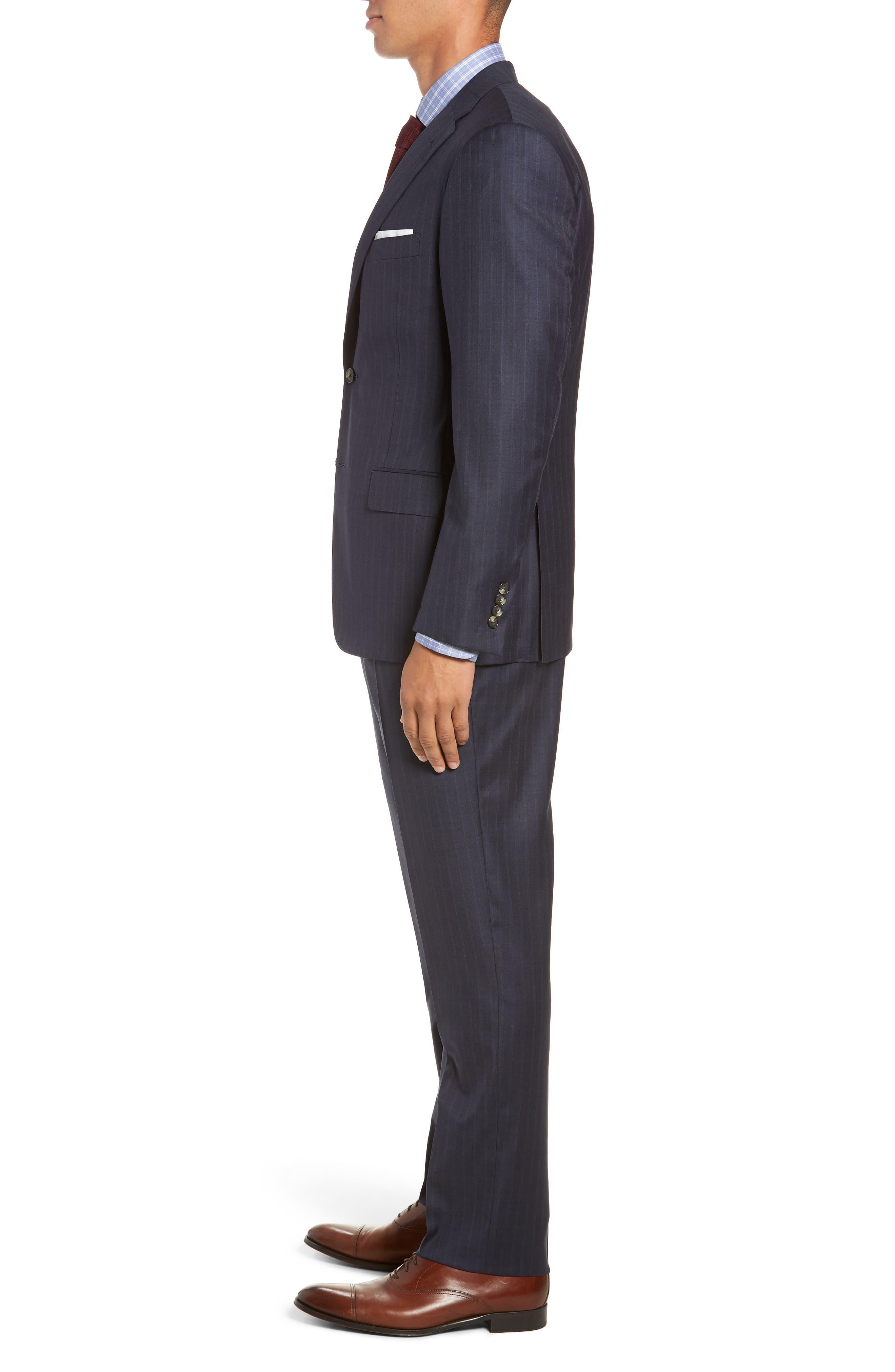 Classic Fit Stripe Wool Suit,                             Alternate thumbnail 3, color,                             DARK BLUE