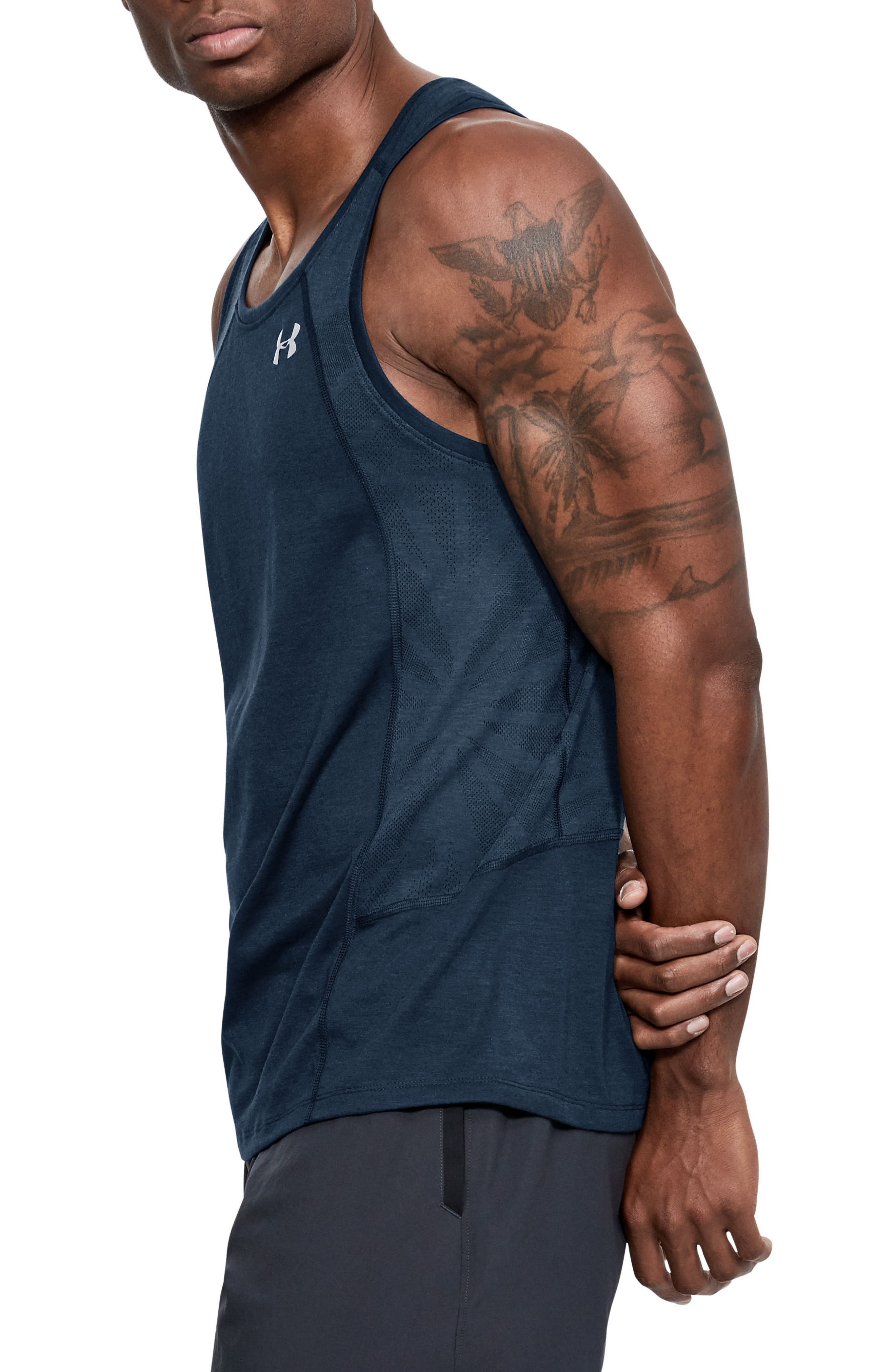 Threaborne Swyft Regular Fit Tank,                             Alternate thumbnail 3, color,                             ACADEMY/ STEEL/ REFLECTIVE