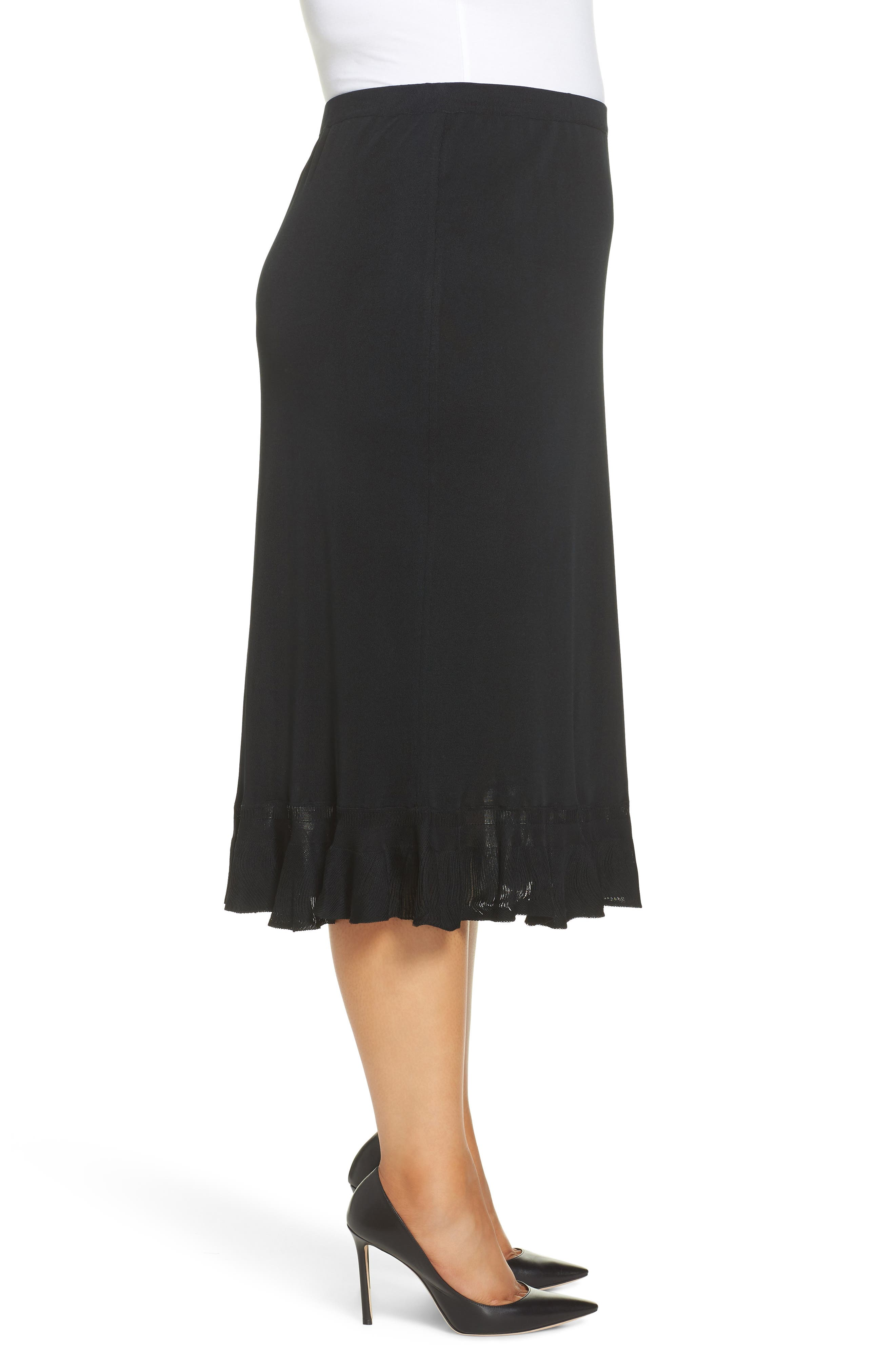 MING WANG,                             Ruffle Hem Skirt,                             Alternate thumbnail 3, color,                             BLACK