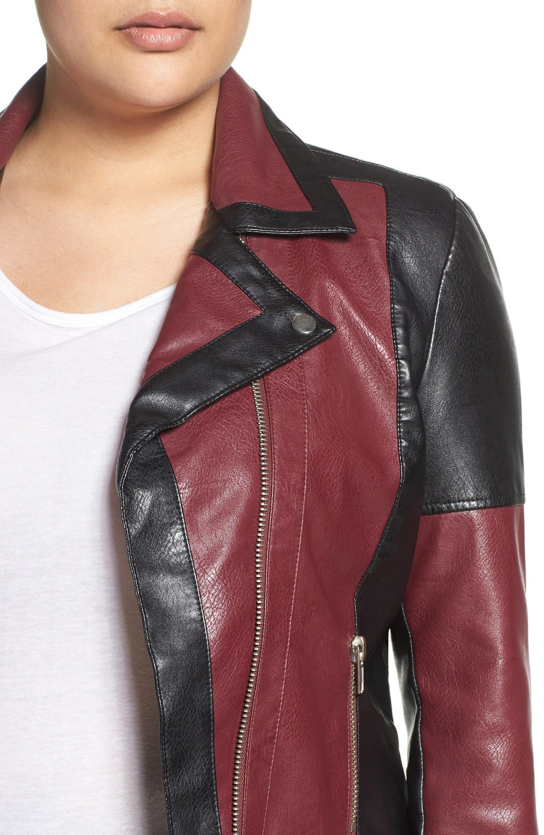 'Justine' Colorbock Faux Leather Jacket,                             Alternate thumbnail 4, color,                             602