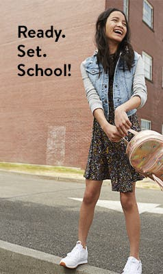 Ready. Set. School! Kids' back-to-school clothing, shoes and accessories.