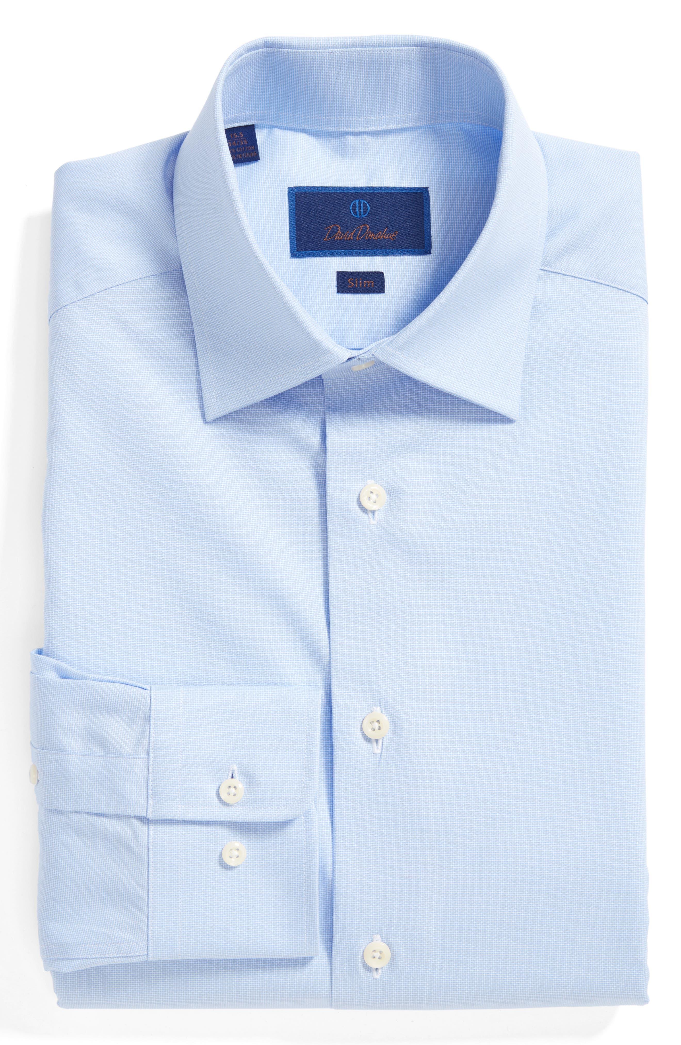 DAVID DONAHUE,                             Slim Fit Solid Dress Shirt,                             Alternate thumbnail 3, color,                             SKY