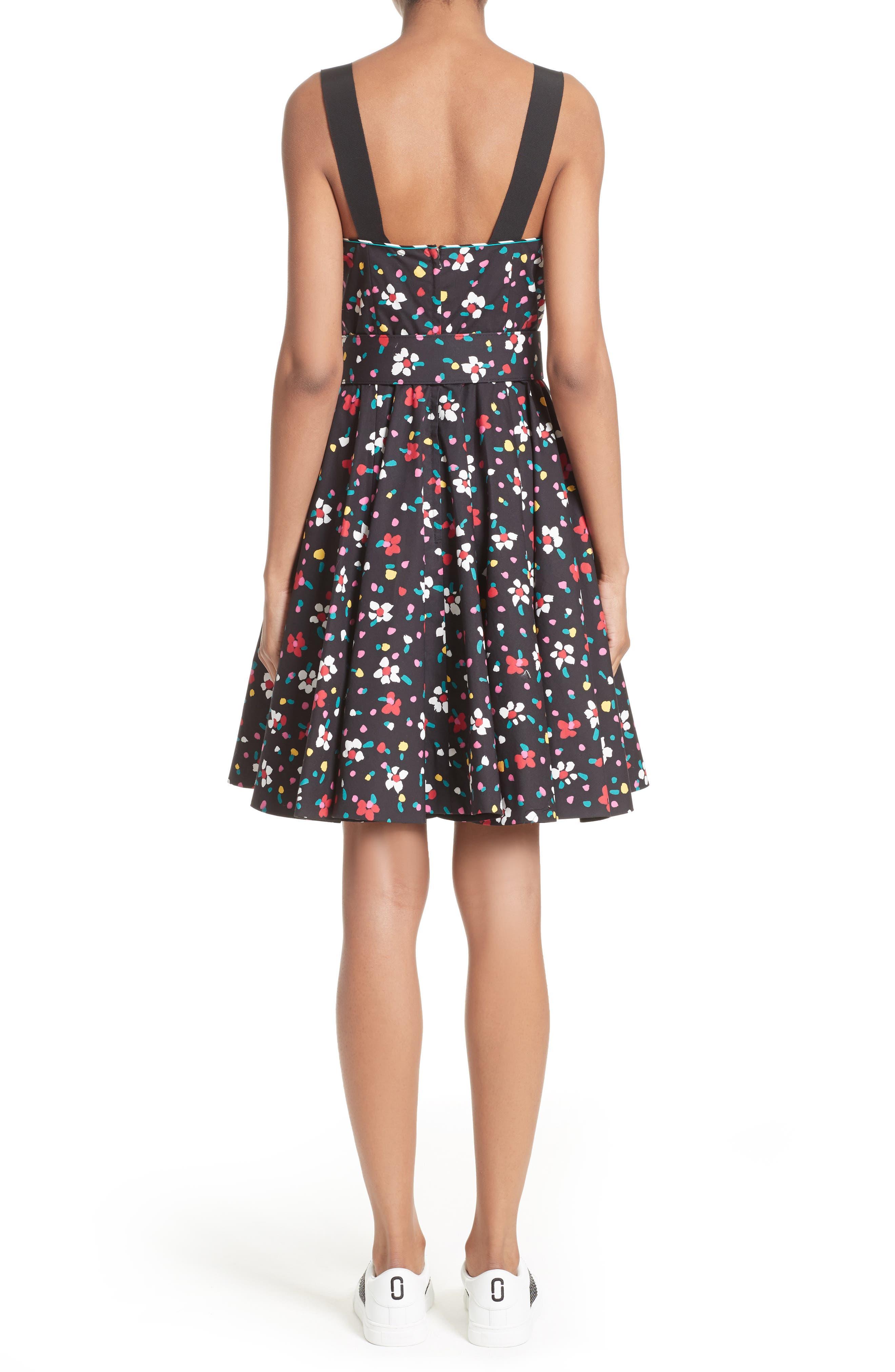 Floral Print Poplin Fit & Flare Dress,                             Alternate thumbnail 2, color,