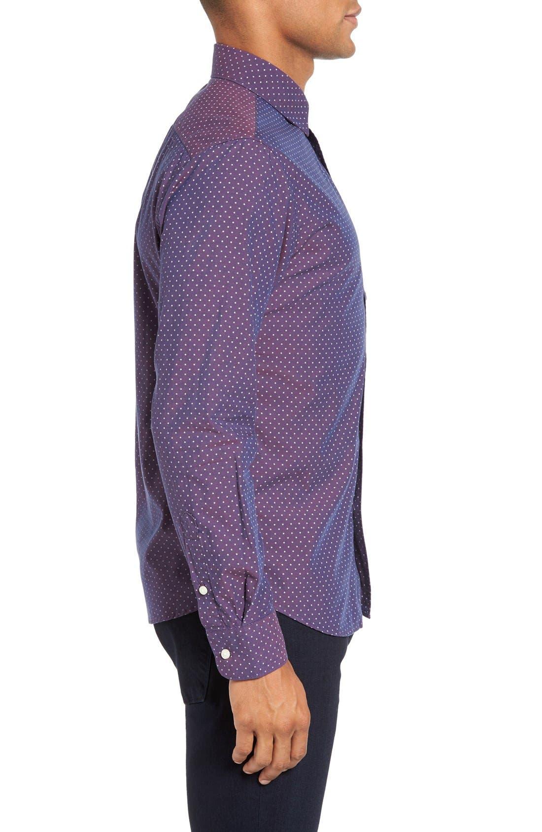 Slim Fit Star Print Sport Shirt,                             Alternate thumbnail 3, color,                             930