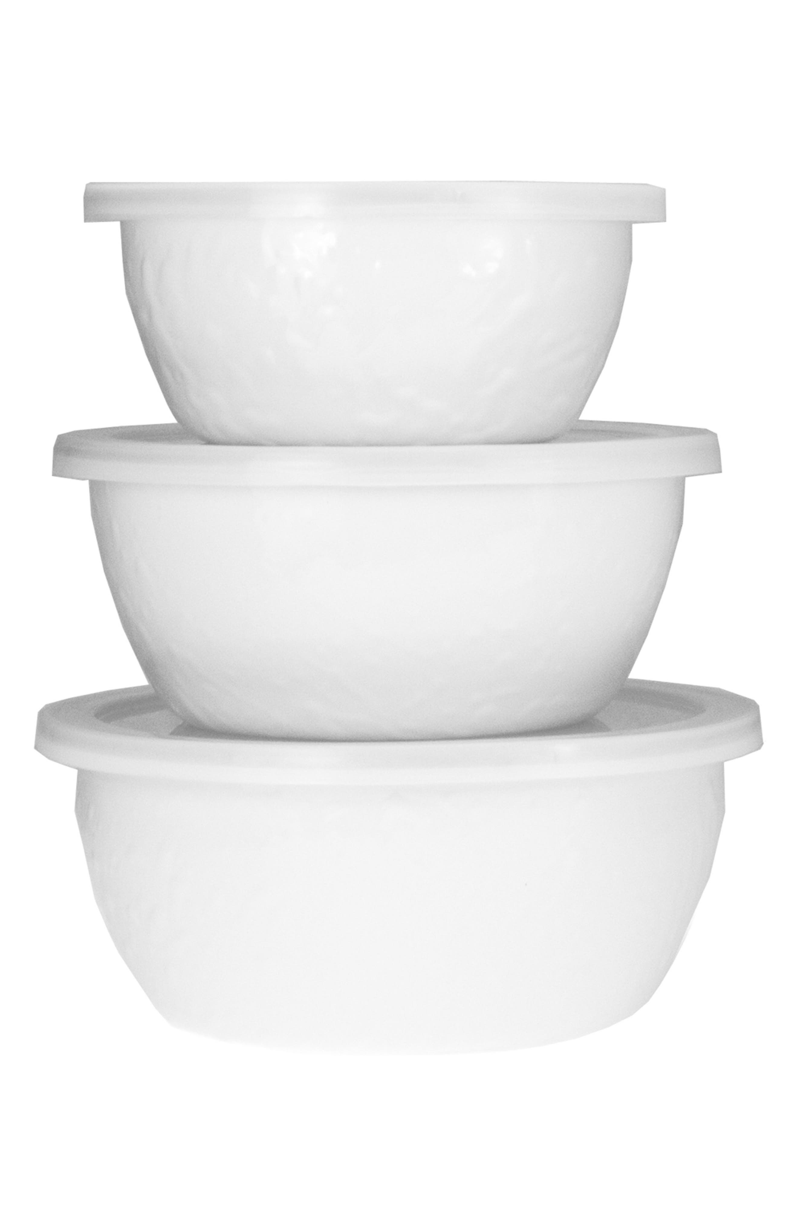 Set of 3 Nesting Bowls,                             Main thumbnail 1, color,                             SOLID WHITE