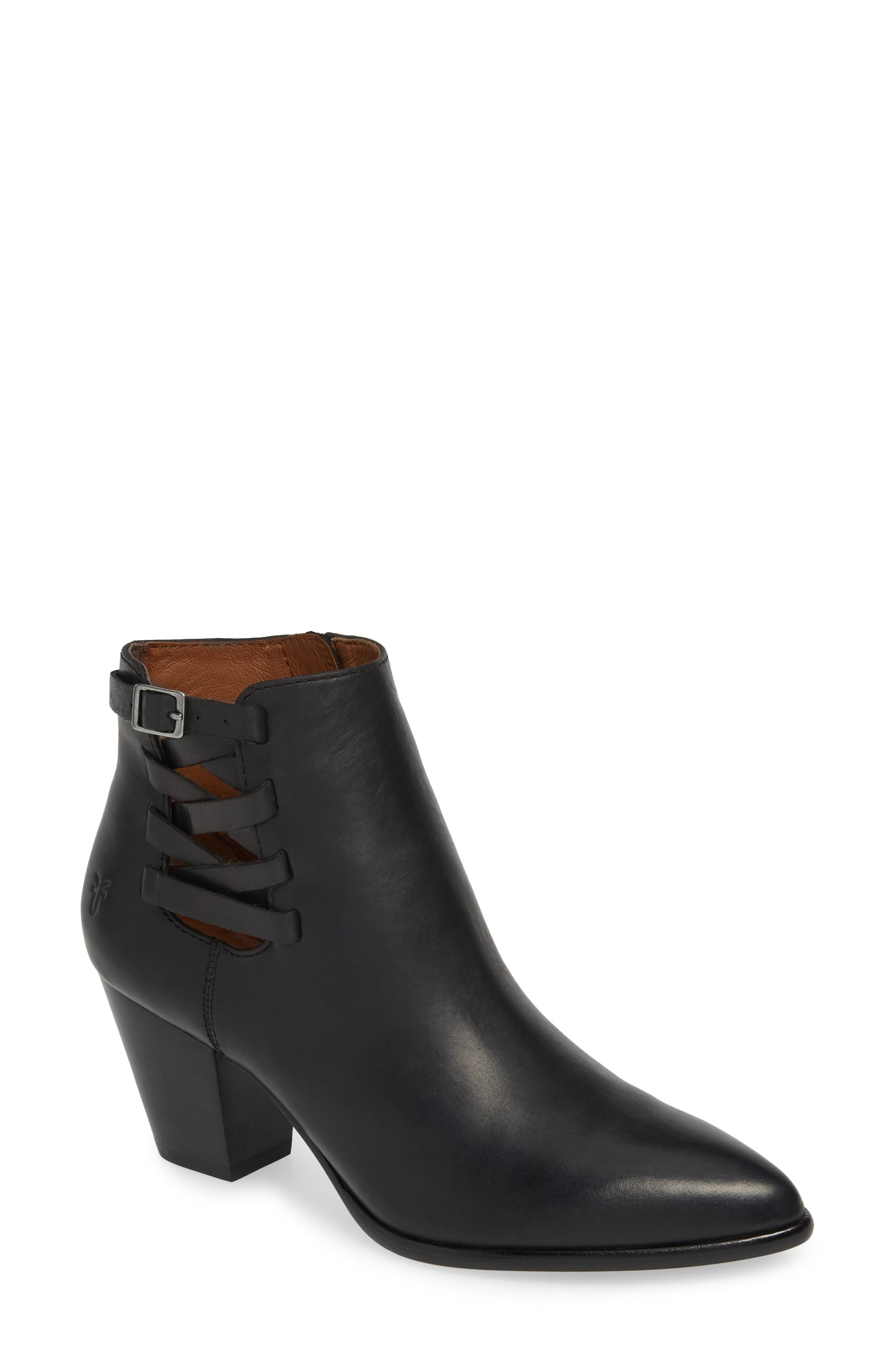Reed Strappy Bootie, Main, color, BLACK
