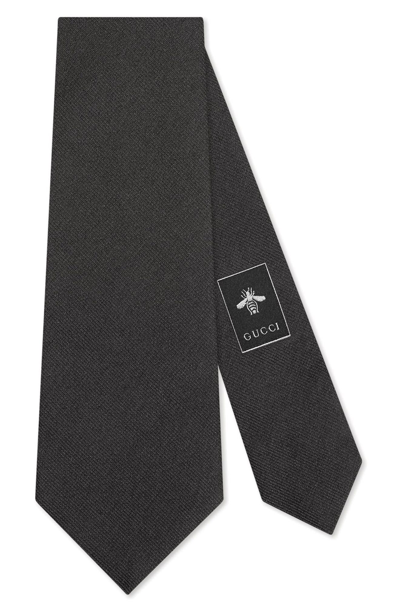 Bee Silk Tie,                         Main,                         color, BLACK
