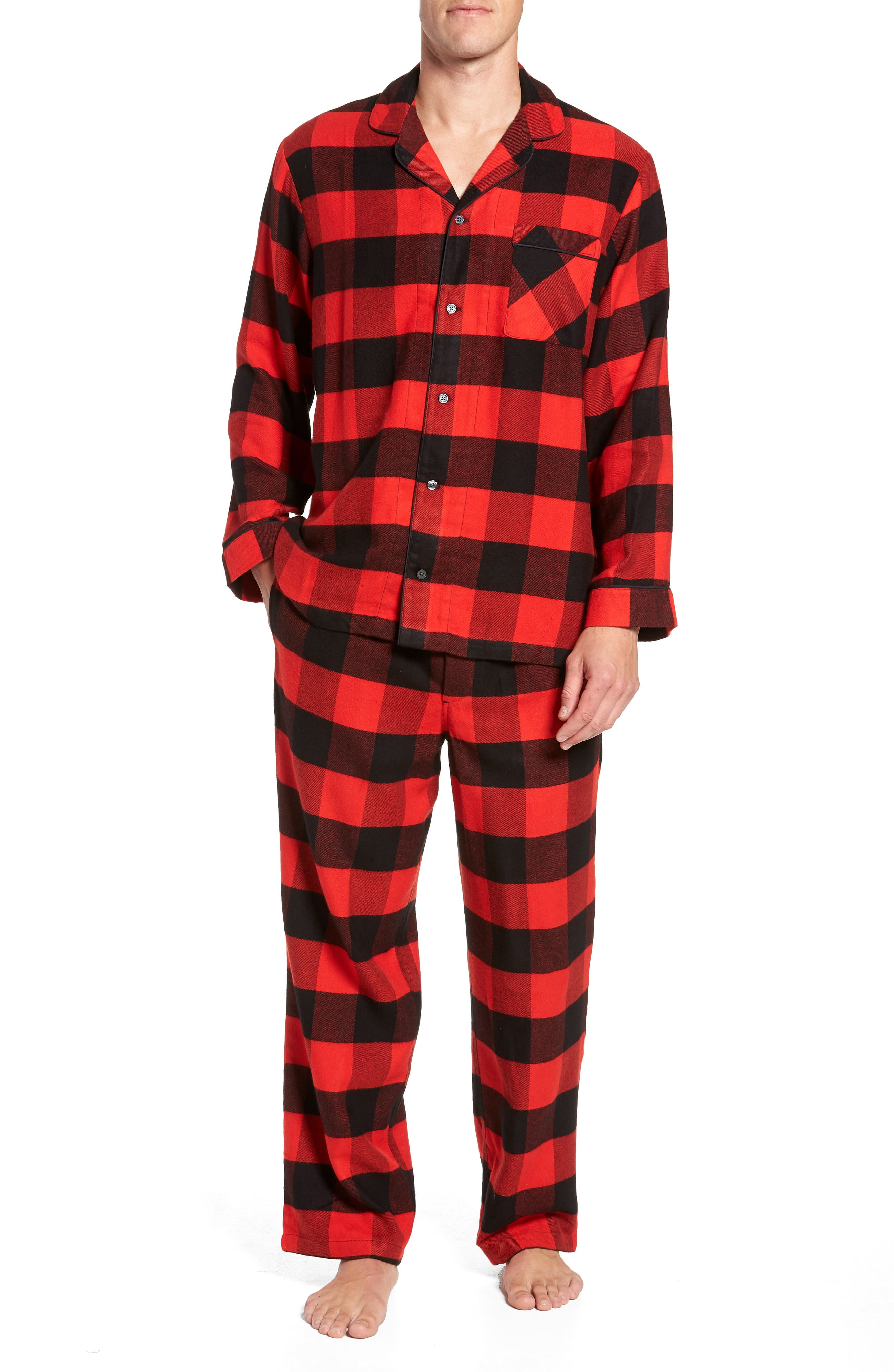 NORDSTROM MEN'S SHOP Family Father Flannel Pajamas, Main, color, 610