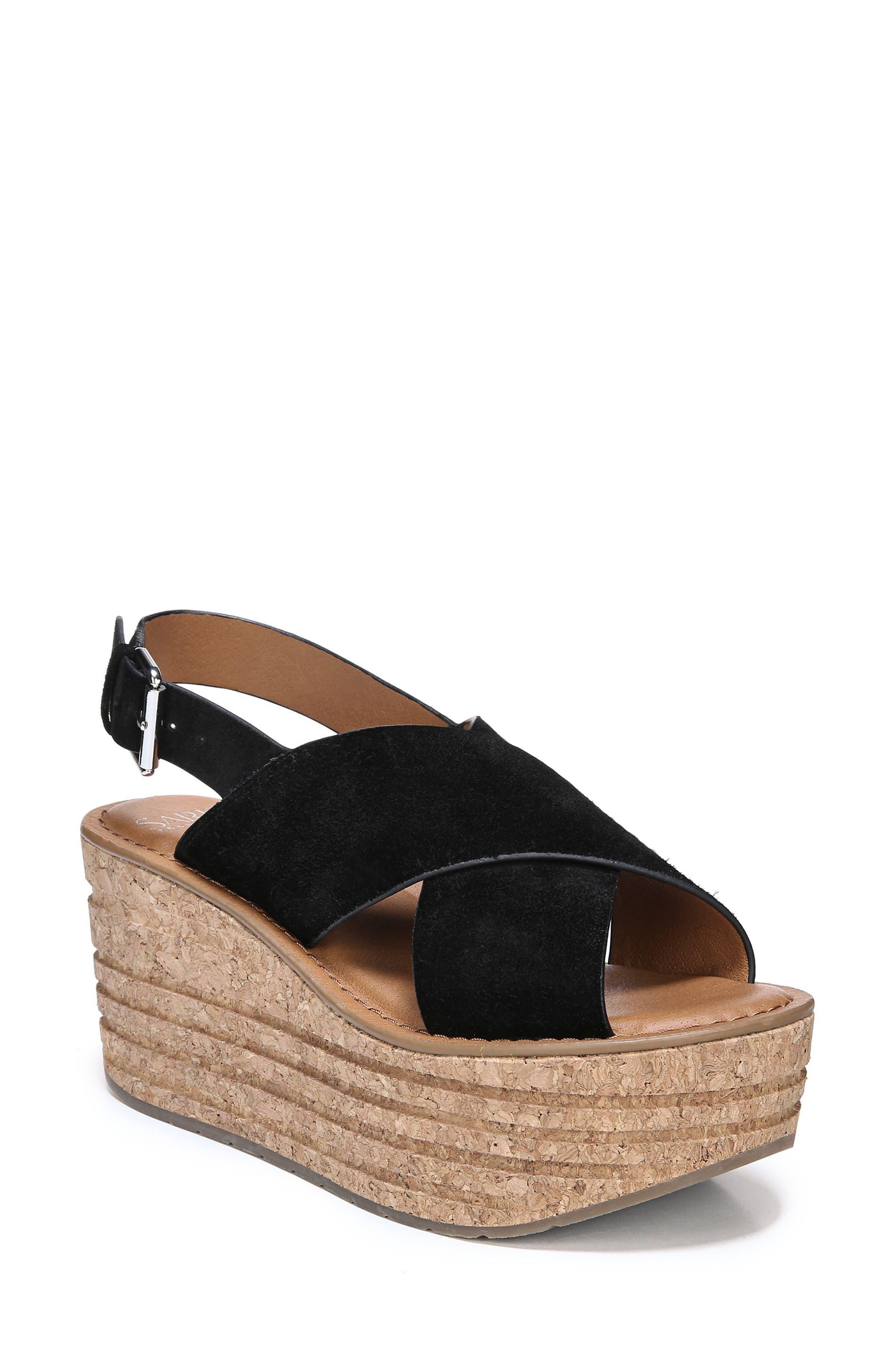 Caroline Platform Wedge Sandal,                             Main thumbnail 1, color,                             001
