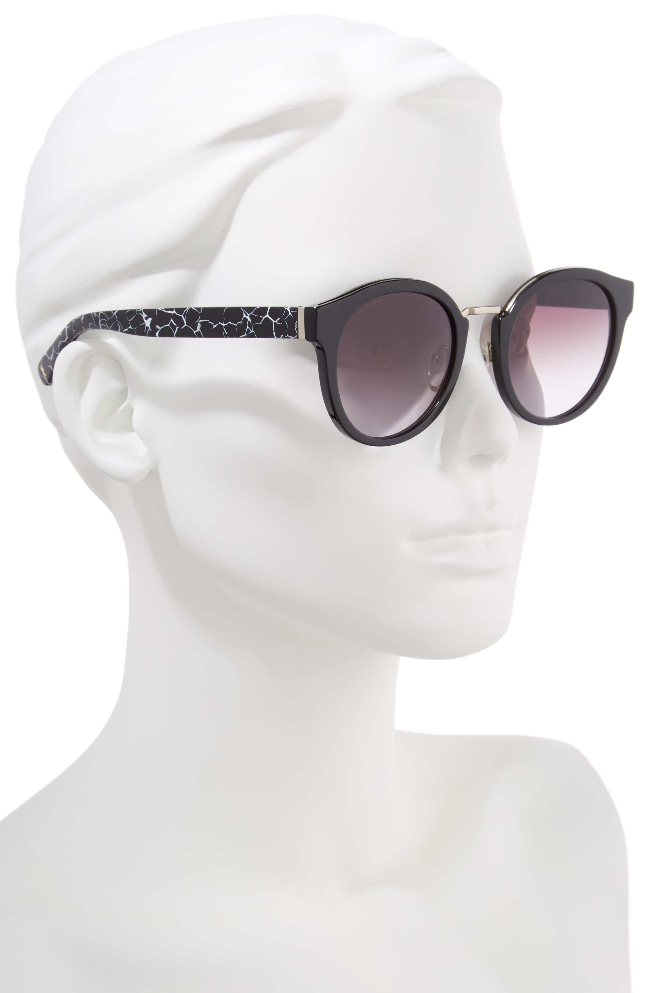51mm Round Sunglasses,                             Alternate thumbnail 2, color,                             MARBLE BLACK