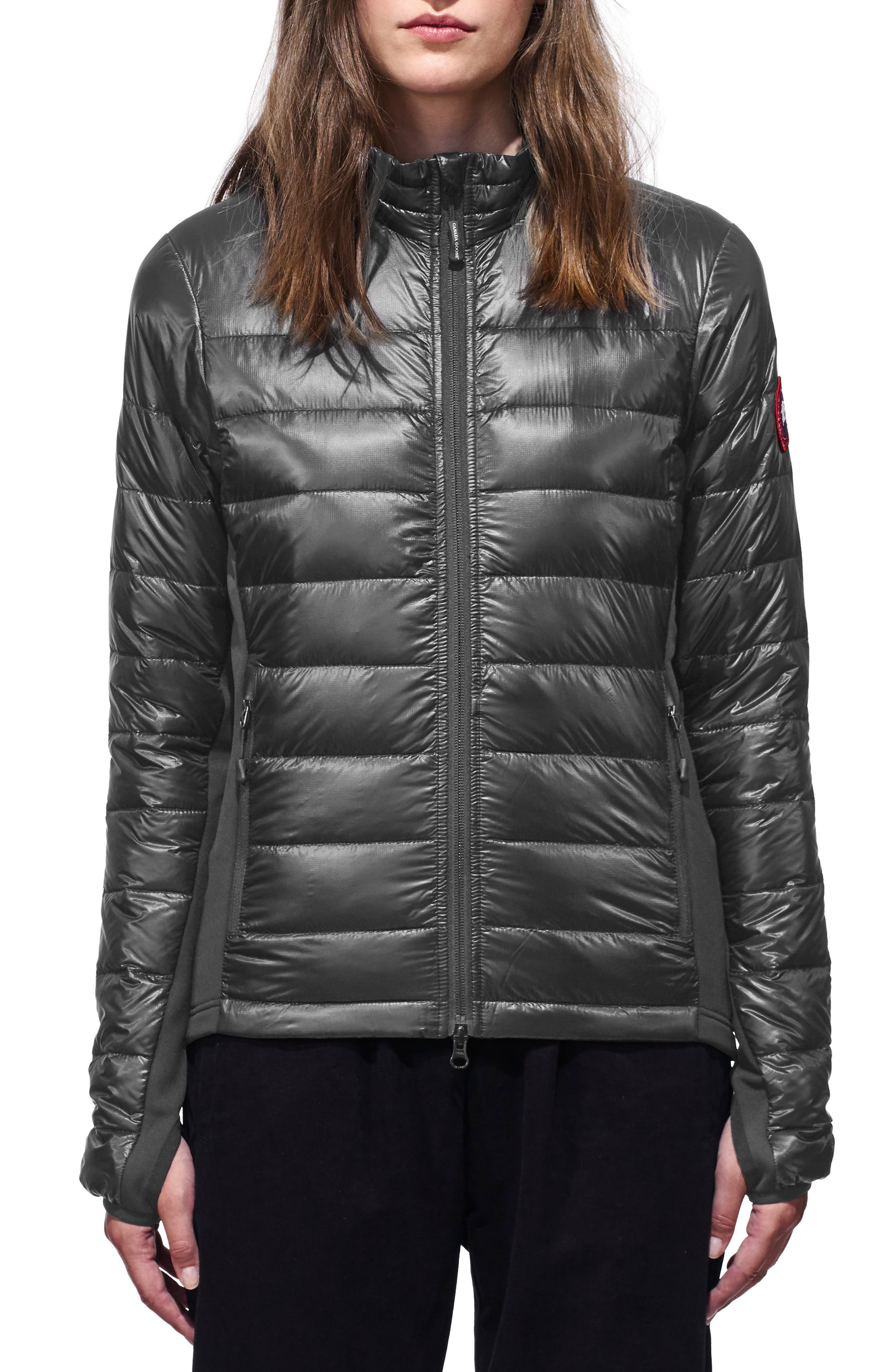 'Hybridge Lite' Slim Fit Mixed Media Down Jacket,                             Main thumbnail 1, color,                             S GRAPHITE/ L BLACK